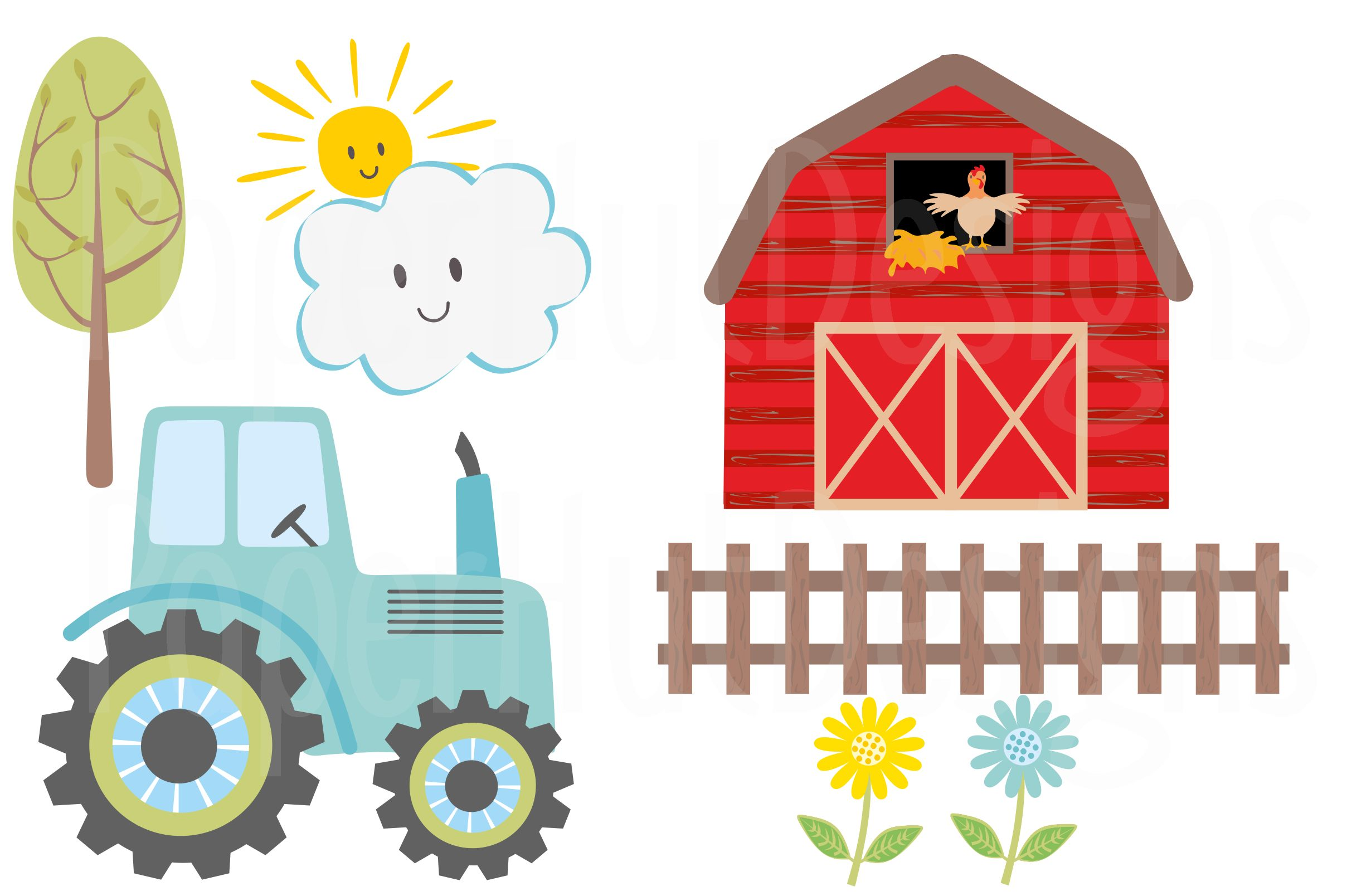 Farm Animals Clipart and Digital Papers example image 3