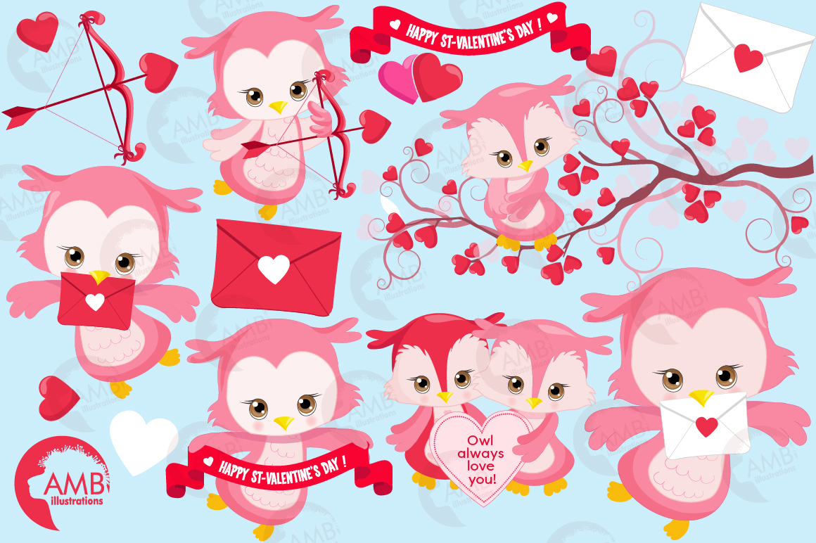 Happy Valentine clipart, Valentine owls clipart, graphics illustrations AMB-1179 example image 5