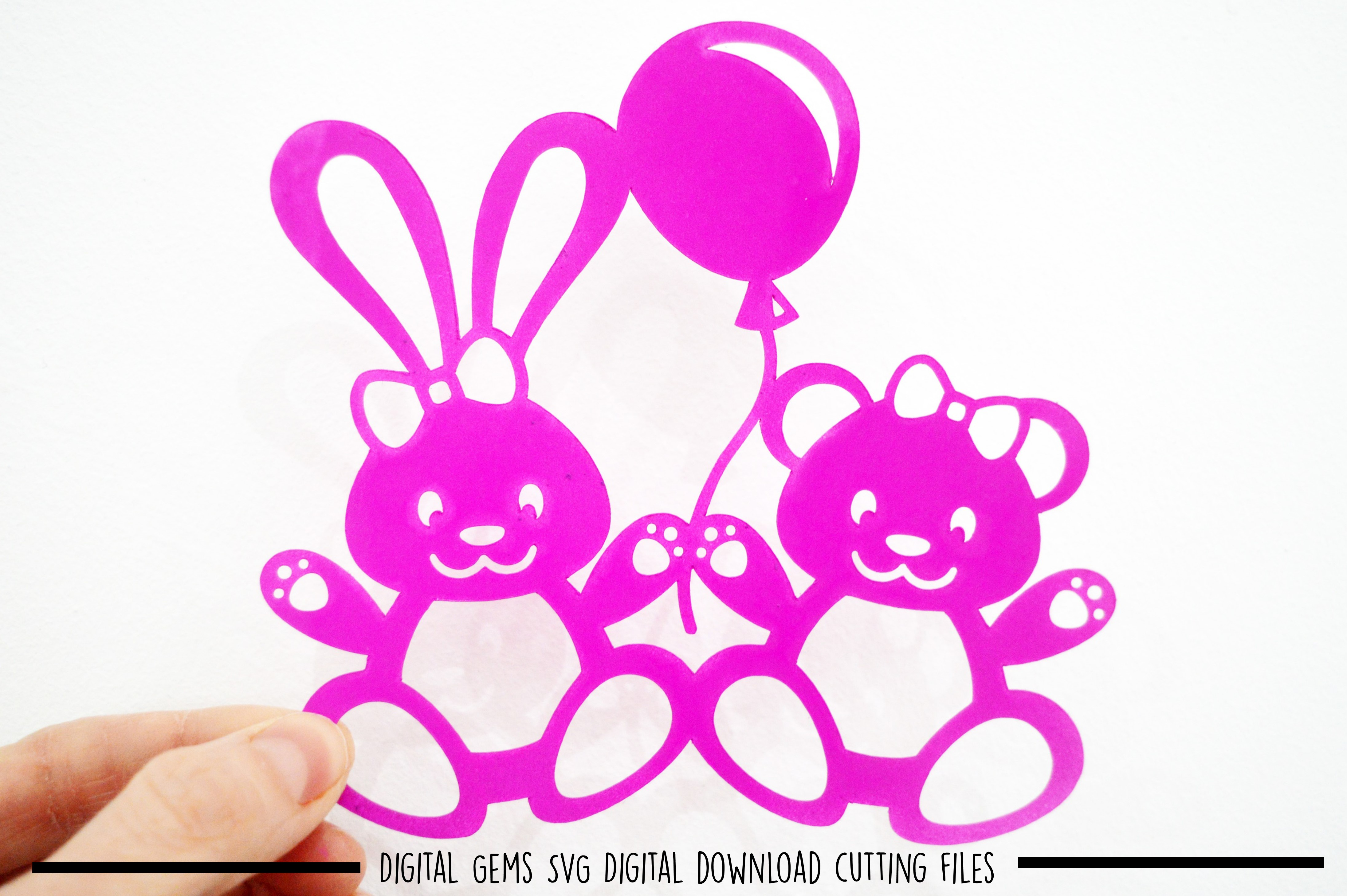 Rabbit and Bear paper cut SVG / DXF / EPS files example image 2