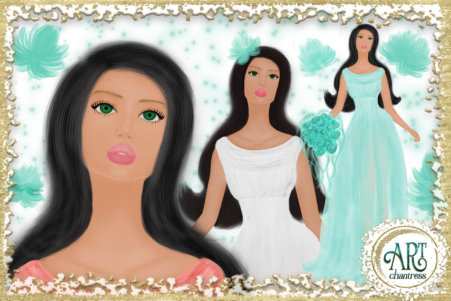 Wedding party, bride clipart in white, coral and teal example image 3