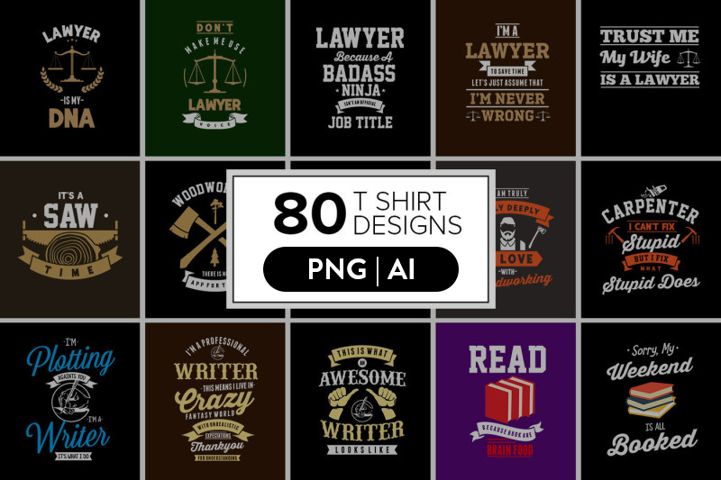 80 Awesome T-Shirt Designs Bundle Hot Niche 2019 example image 1