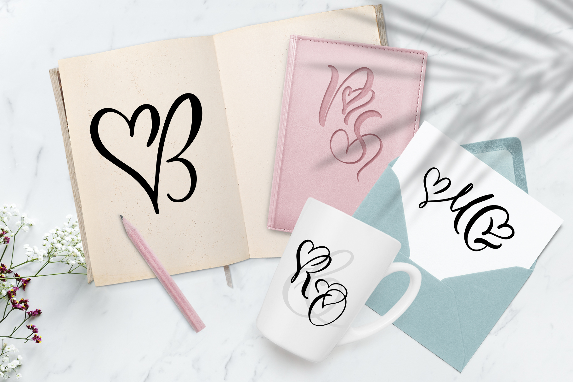 Wedding Heart Monogram Font example image 5