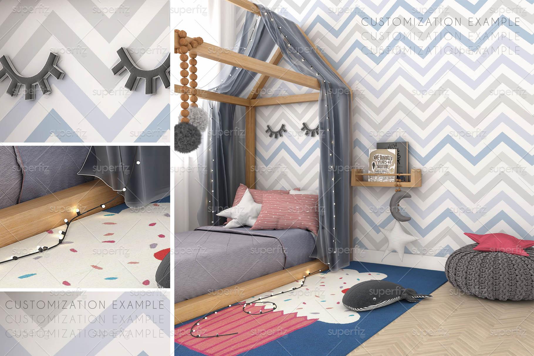 Wallpaper Mockup Kids Bedroom SM59 example image 5