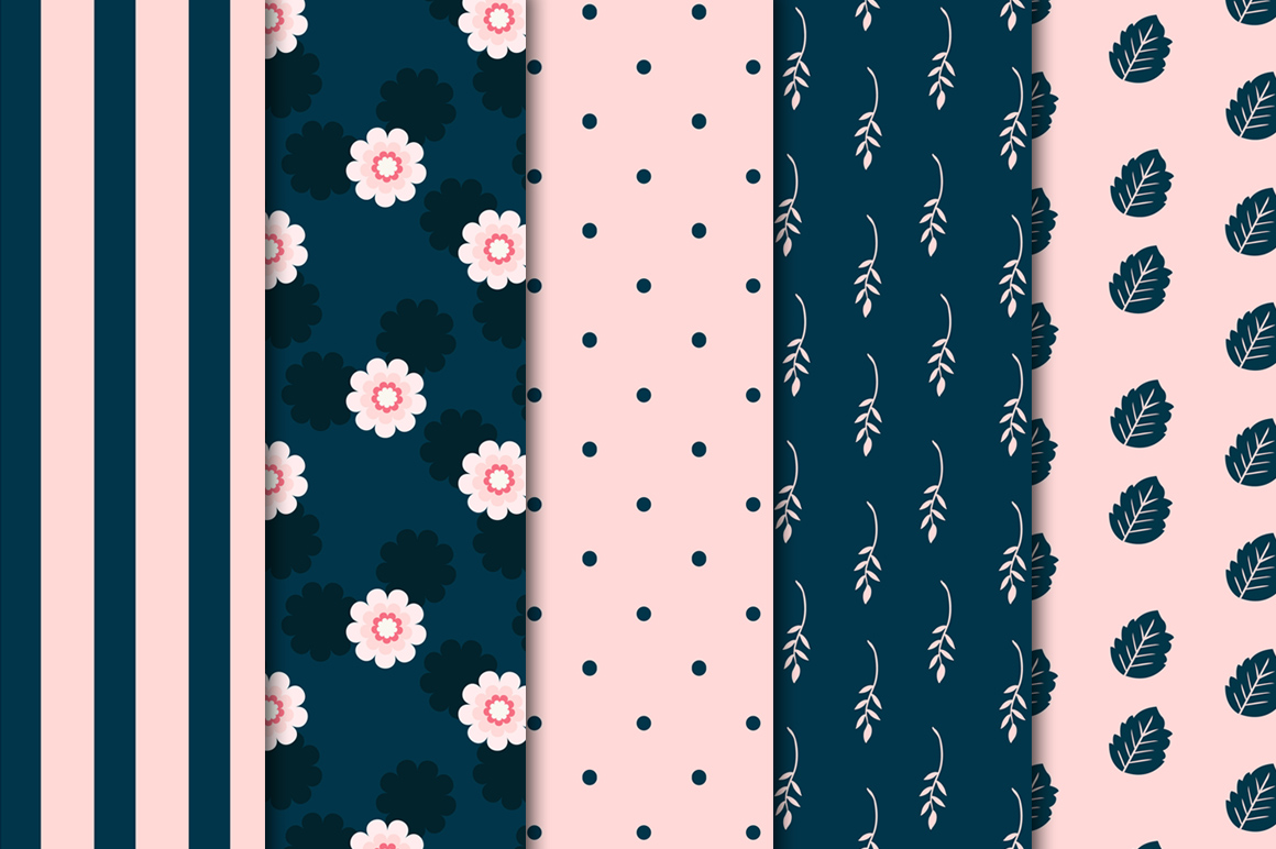 Navy-Pink Digital Papers example image 2