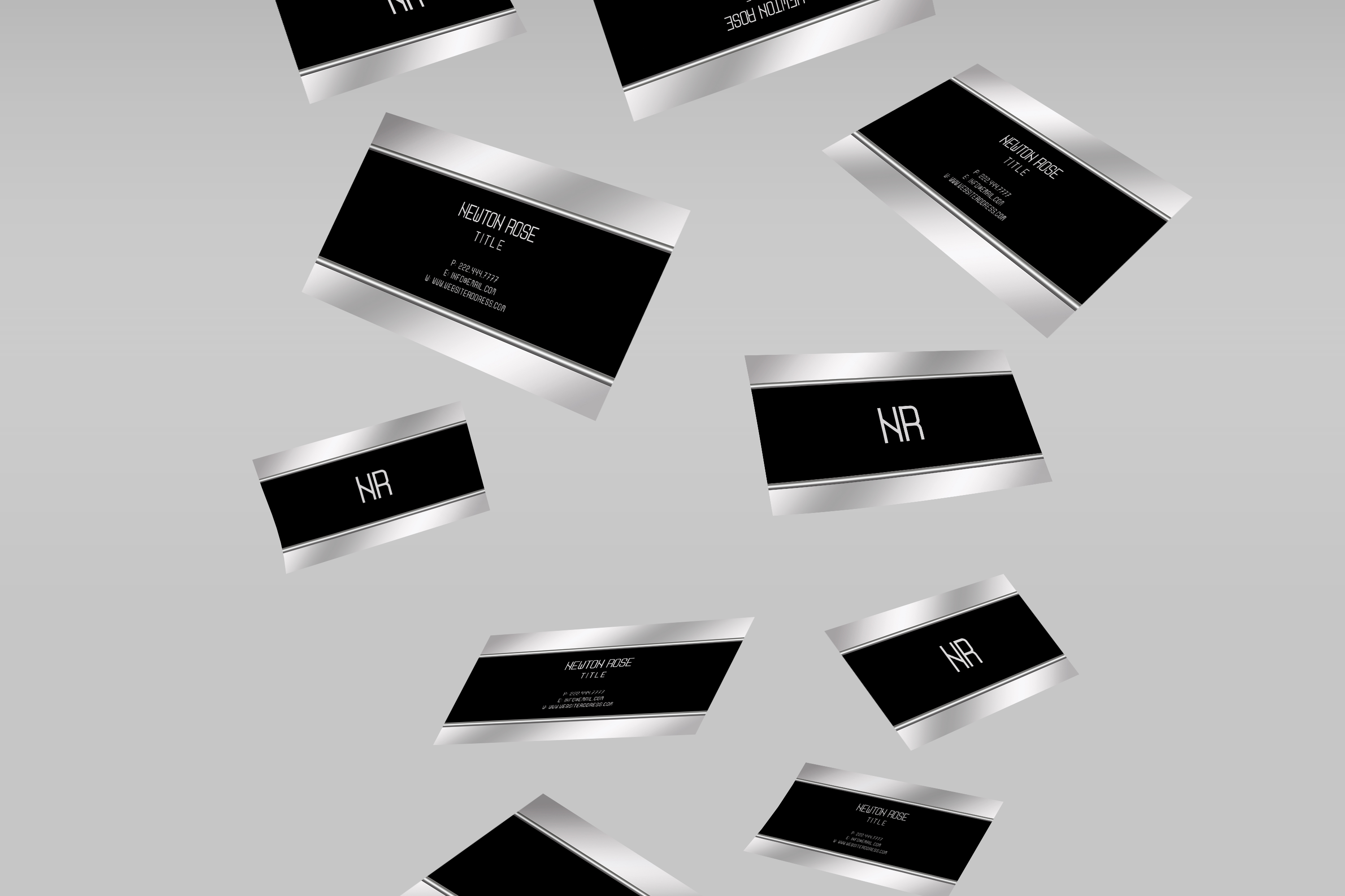 Silver metal finish business card  example image 2