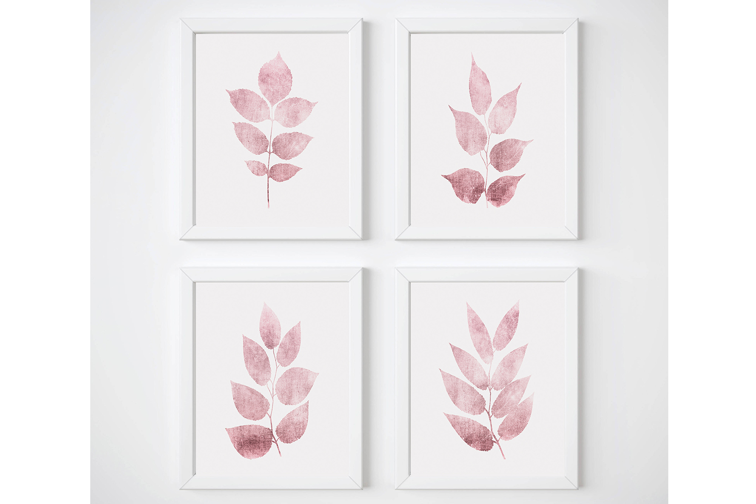 Nursery Botanical Print, Pink Leaf Prints, Leaf Wall Art Set example image 1