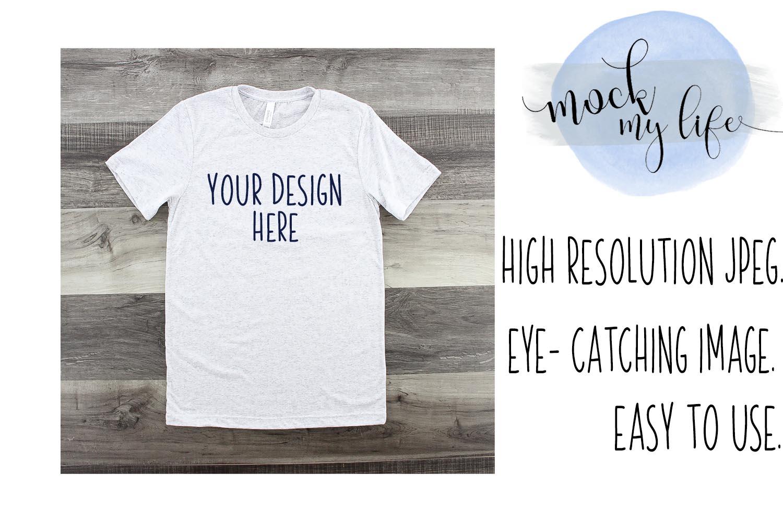 Mockup Bella Canvas Shirt / Flat Lay / White Fleck Shirt example image 1