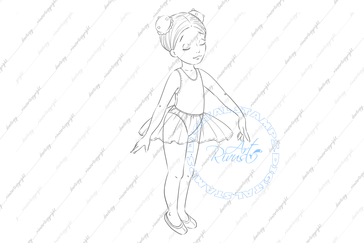 Ballet Digital Stamp. Cute ballerina coloring page Download. example image 2