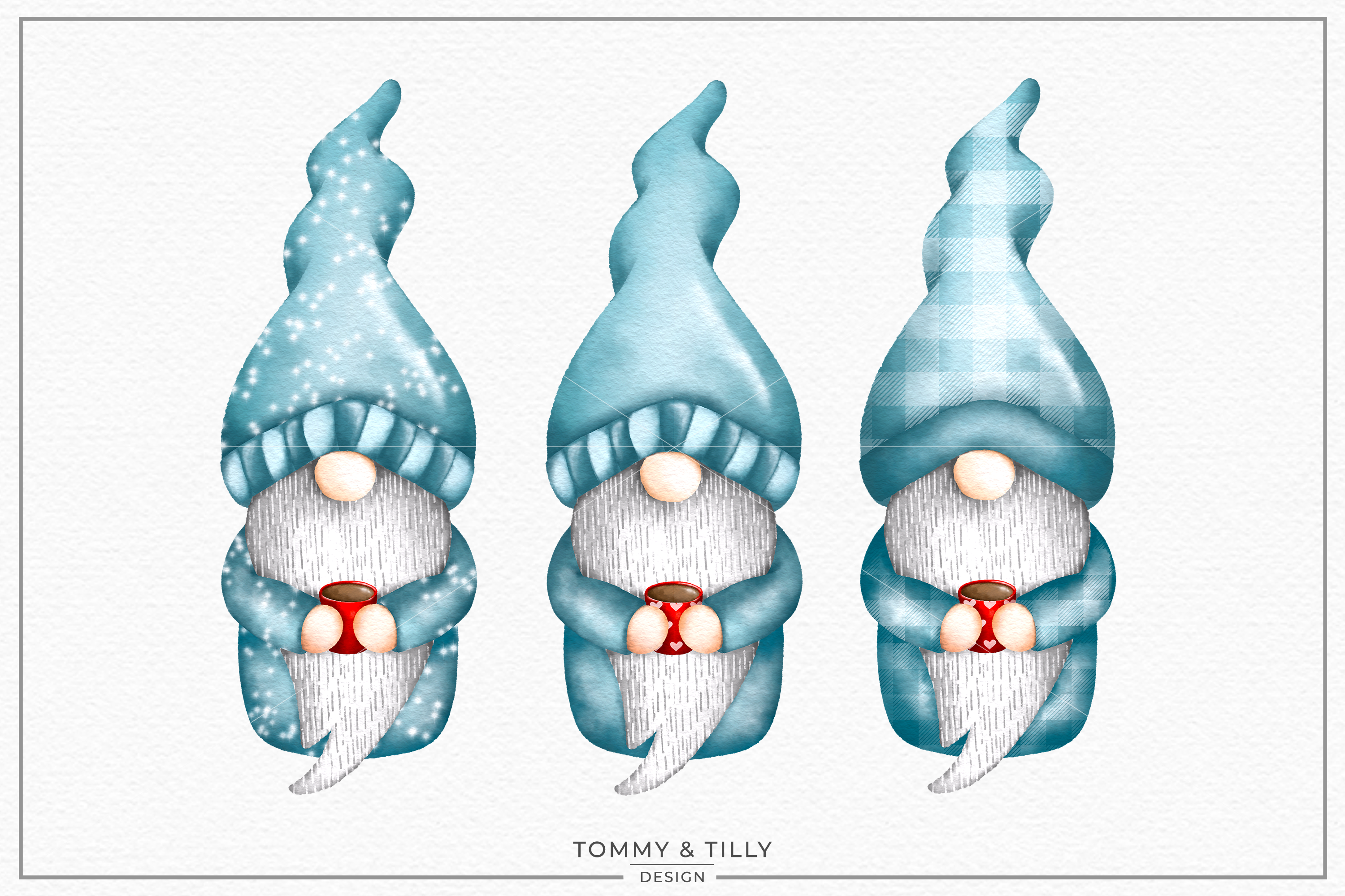Watercolour Gnomes x 3 - Sublimation PNG Clipart example image 1