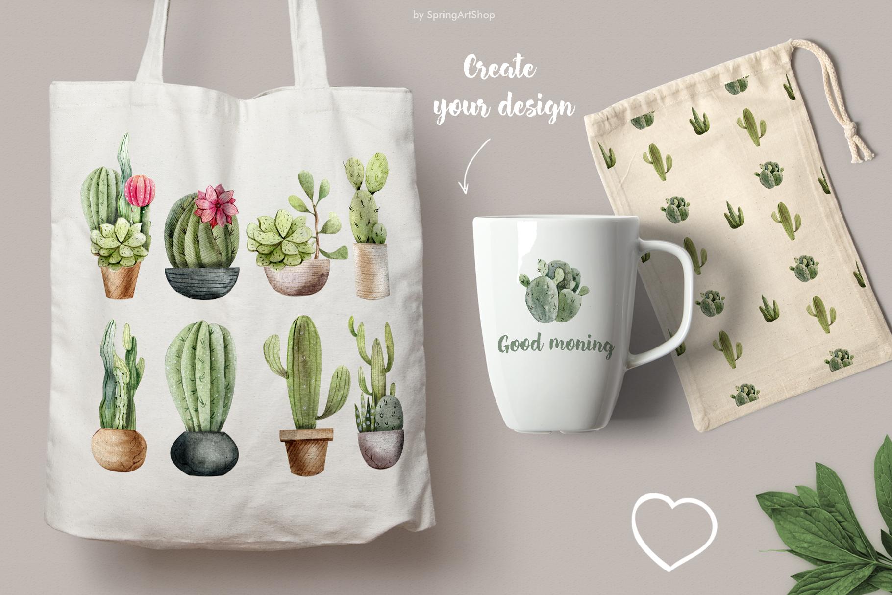 Watercolor Cacti clipart Plants watercolor succulents example image 3