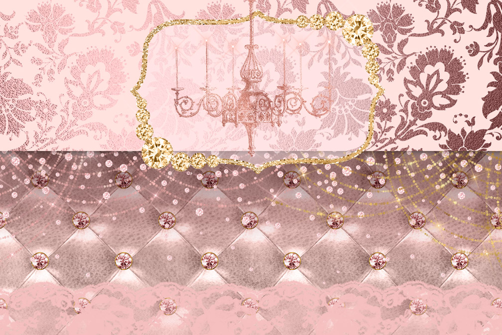 Blush Pink and Gold Digital Scrapbooking Kit example image 2