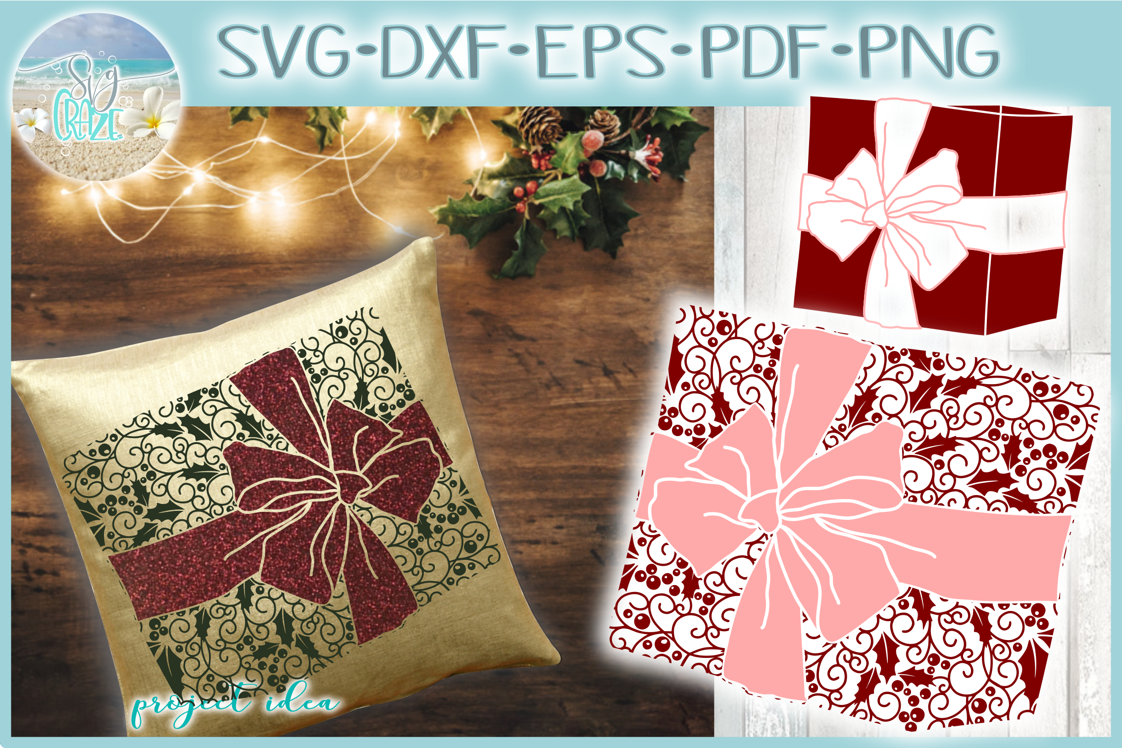 Gift with Bow Mandala Holly Berries Zentangle SVG example image 1