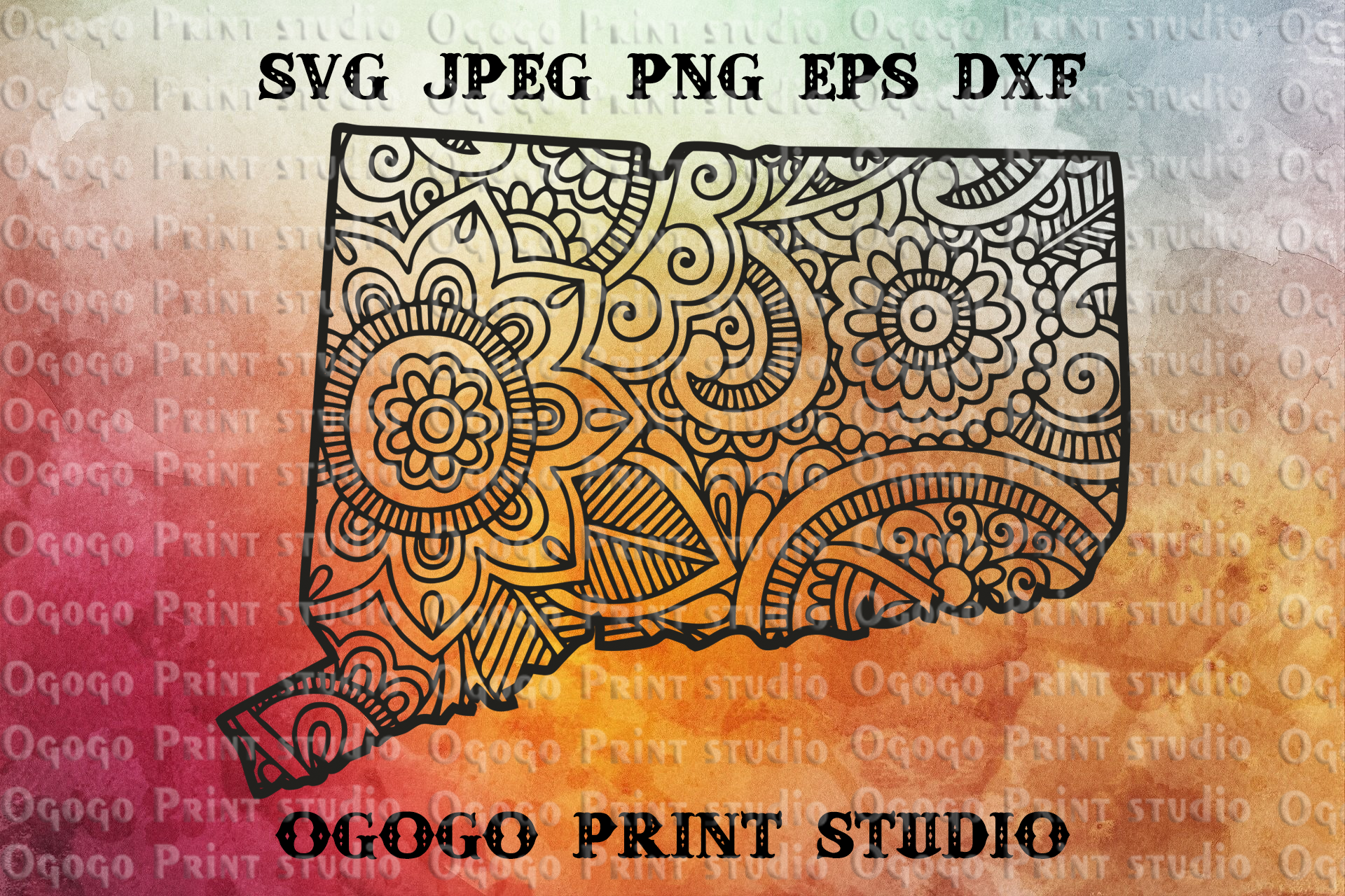 Connecticut svg, Map SVG, Zentangle SVG, Travel svg example image 1