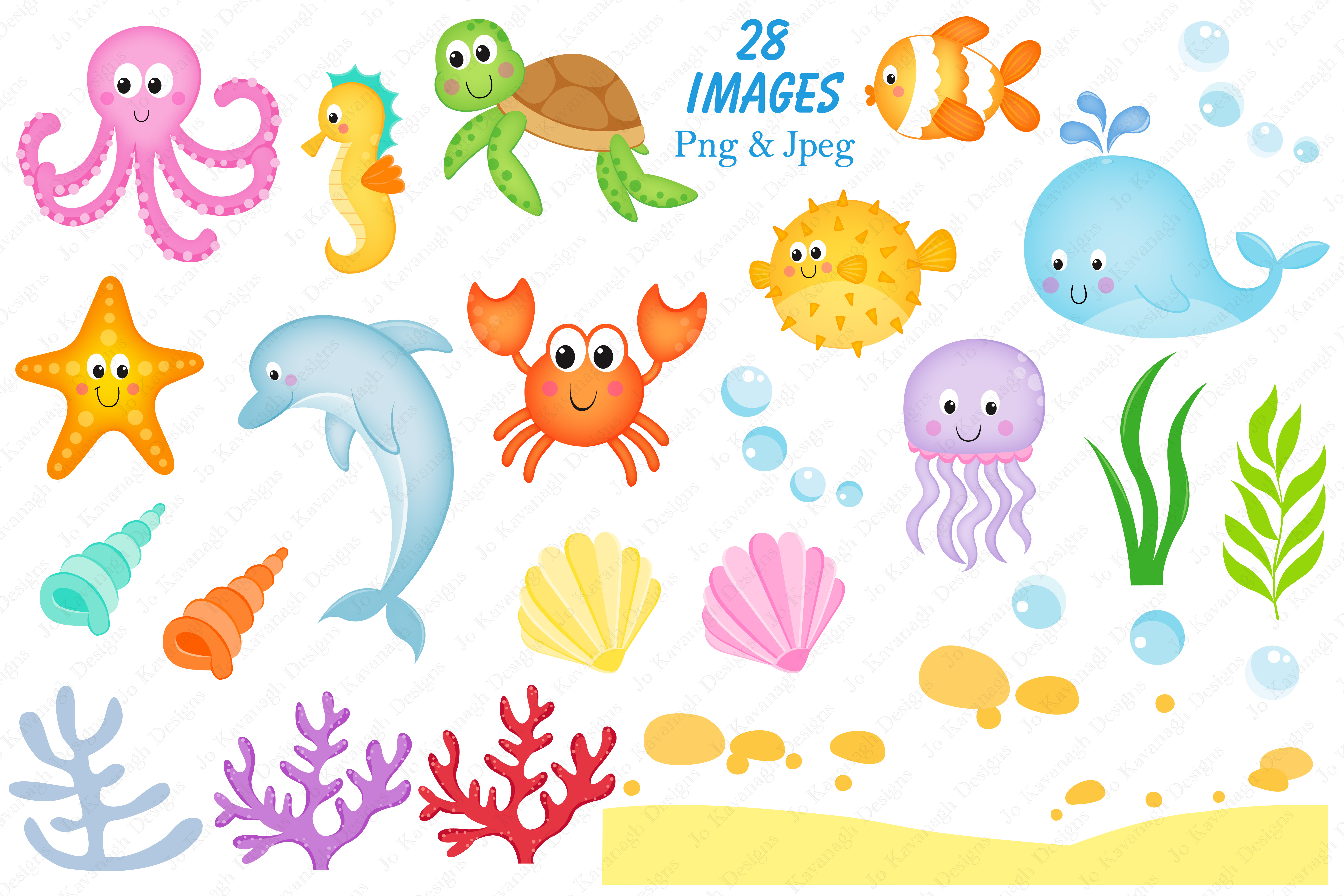 Under the sea graphics & illustrations, Sea animals graphics & illustrations, Under the sea clipart, Sea animals clipart, Under the sea digital paper example image 2
