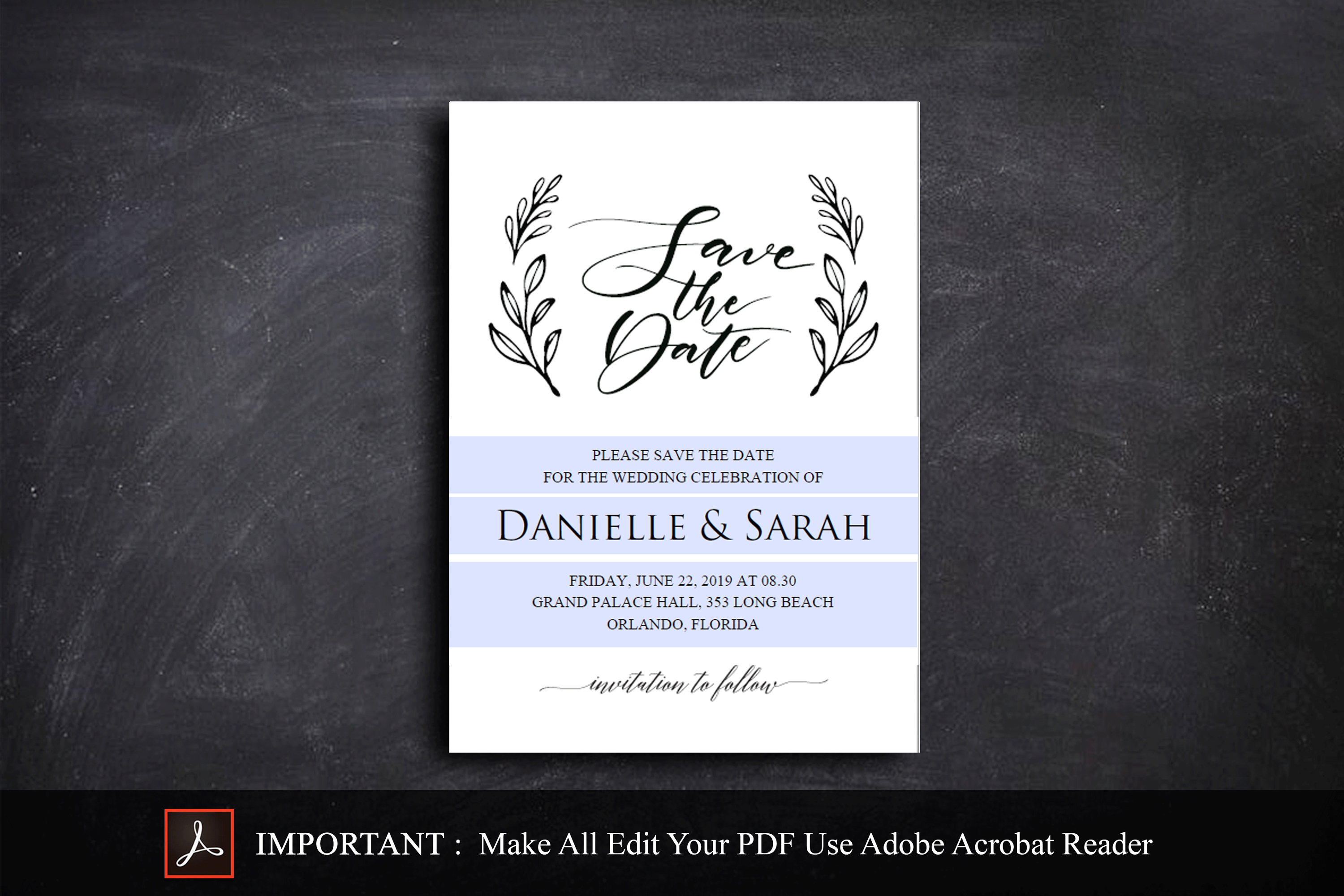 Save the Date Invitation, Save the Date Template example image 2