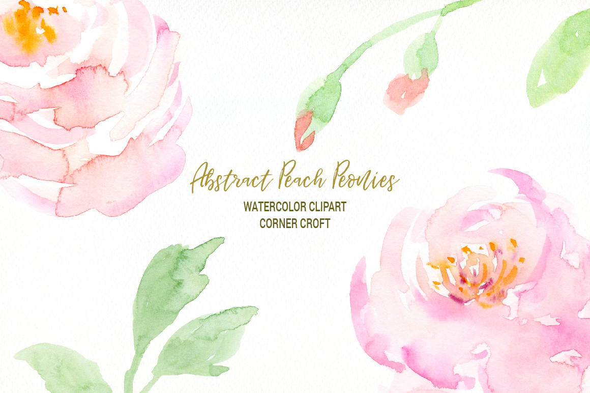 Watercolour Peach Peony Illustration example image 4