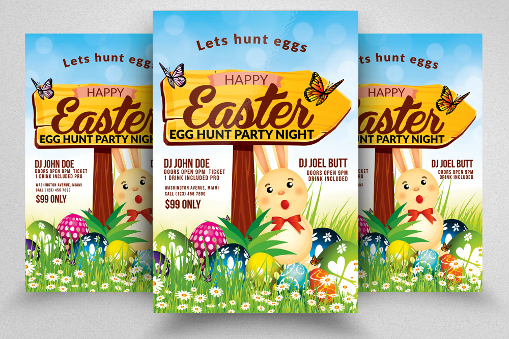 10 Easter Egg Psd Flyer Print Template Bundle example image 11