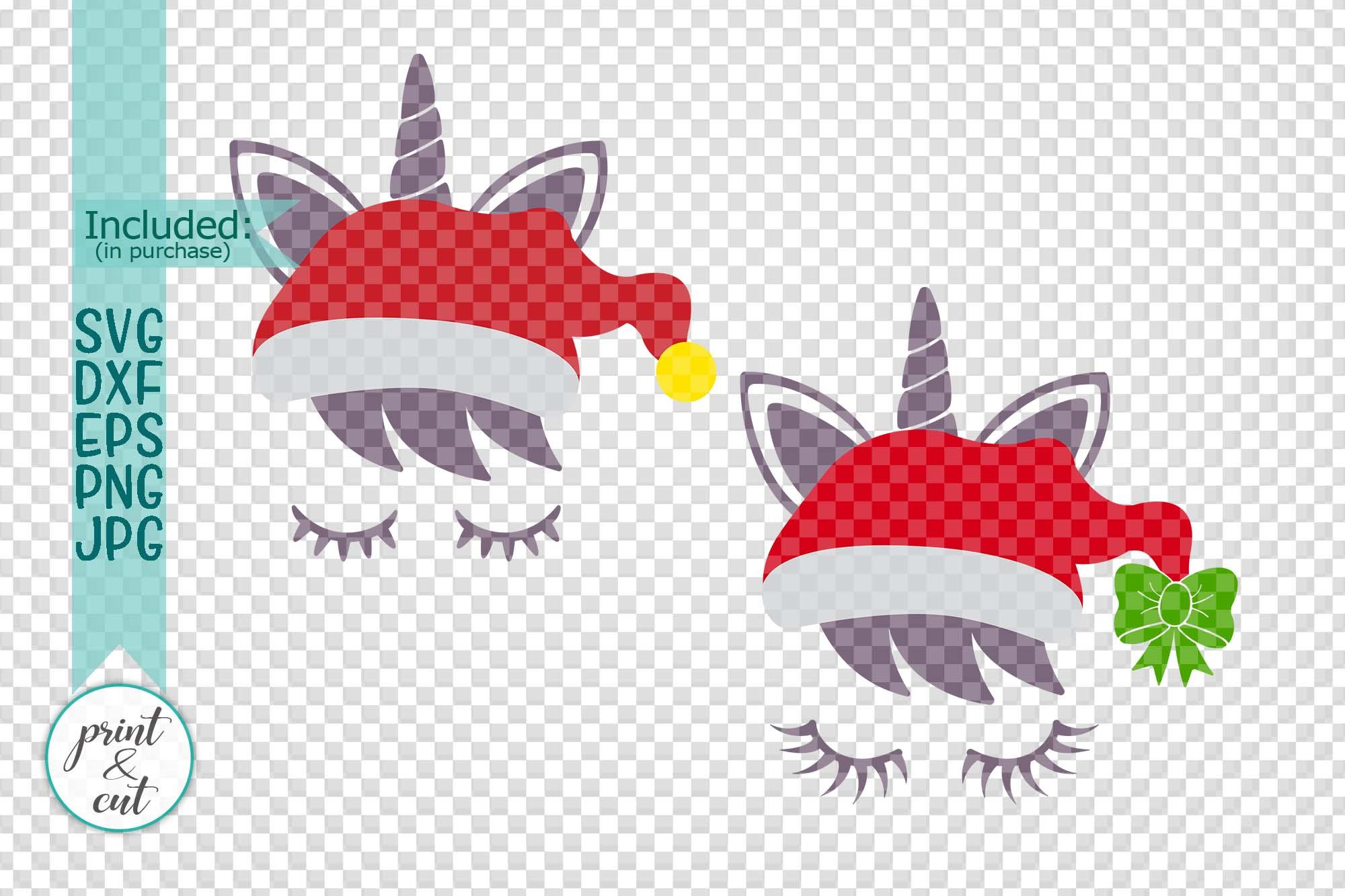 Christmas unicorn in Santa hat eyelashes svg pdf cut print example image 2