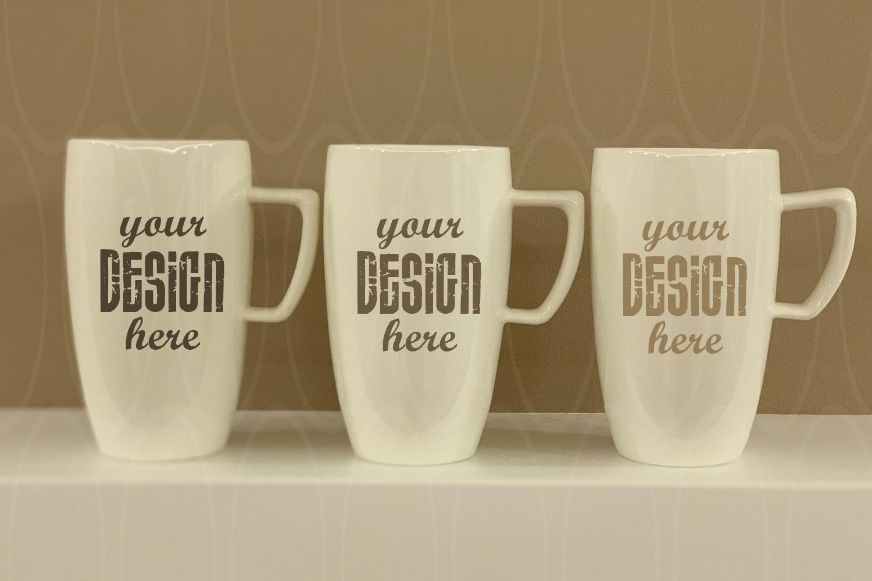 Blank Three White Coffee Glass mockup White Mugs mock ups example image 1