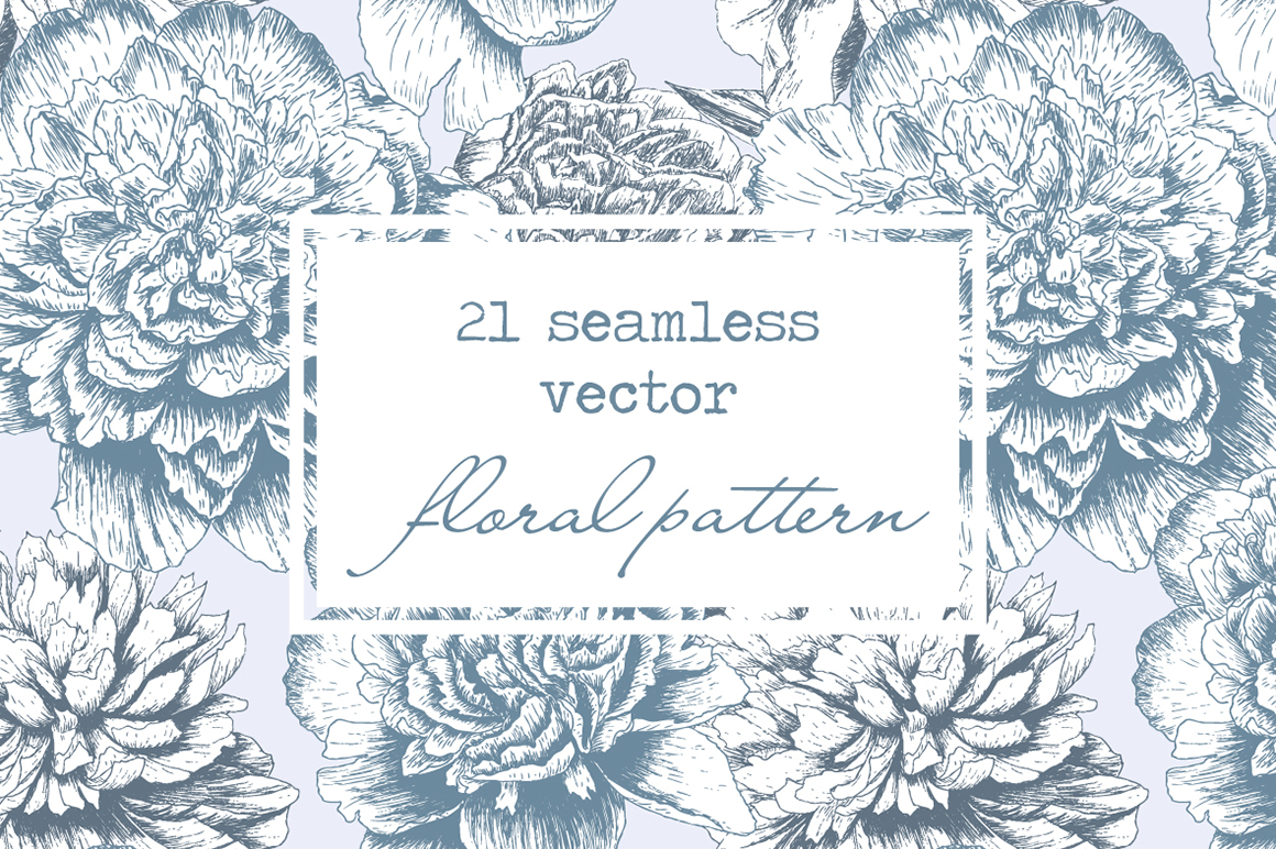 Hand Drawn Floral Vector Patterns example image 1