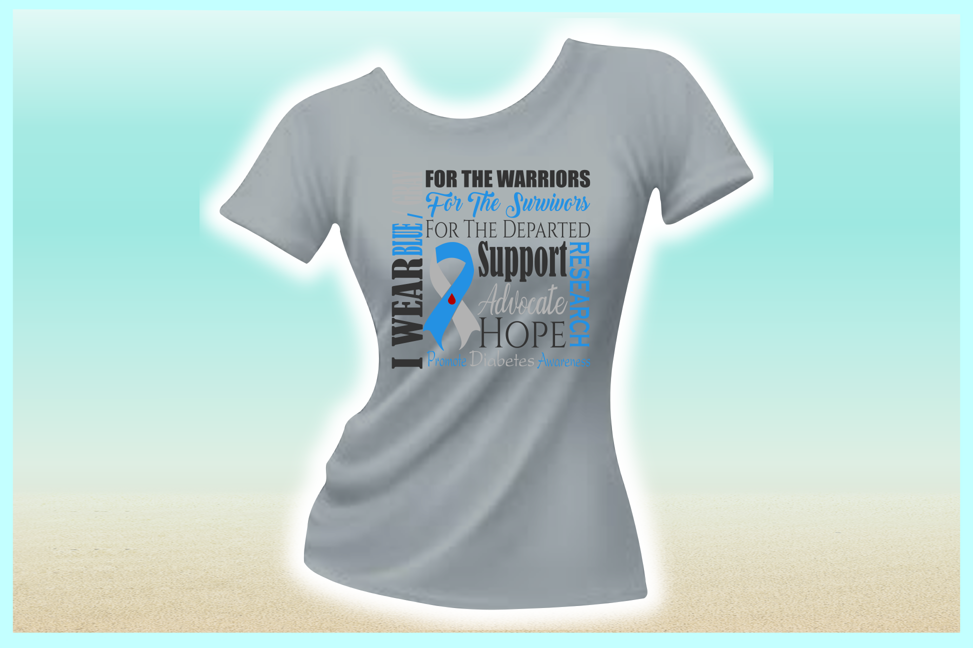 I WEAR BLUE GRAY Diabetes Awareness SVG DXF EPS PNG PDF file example image 2