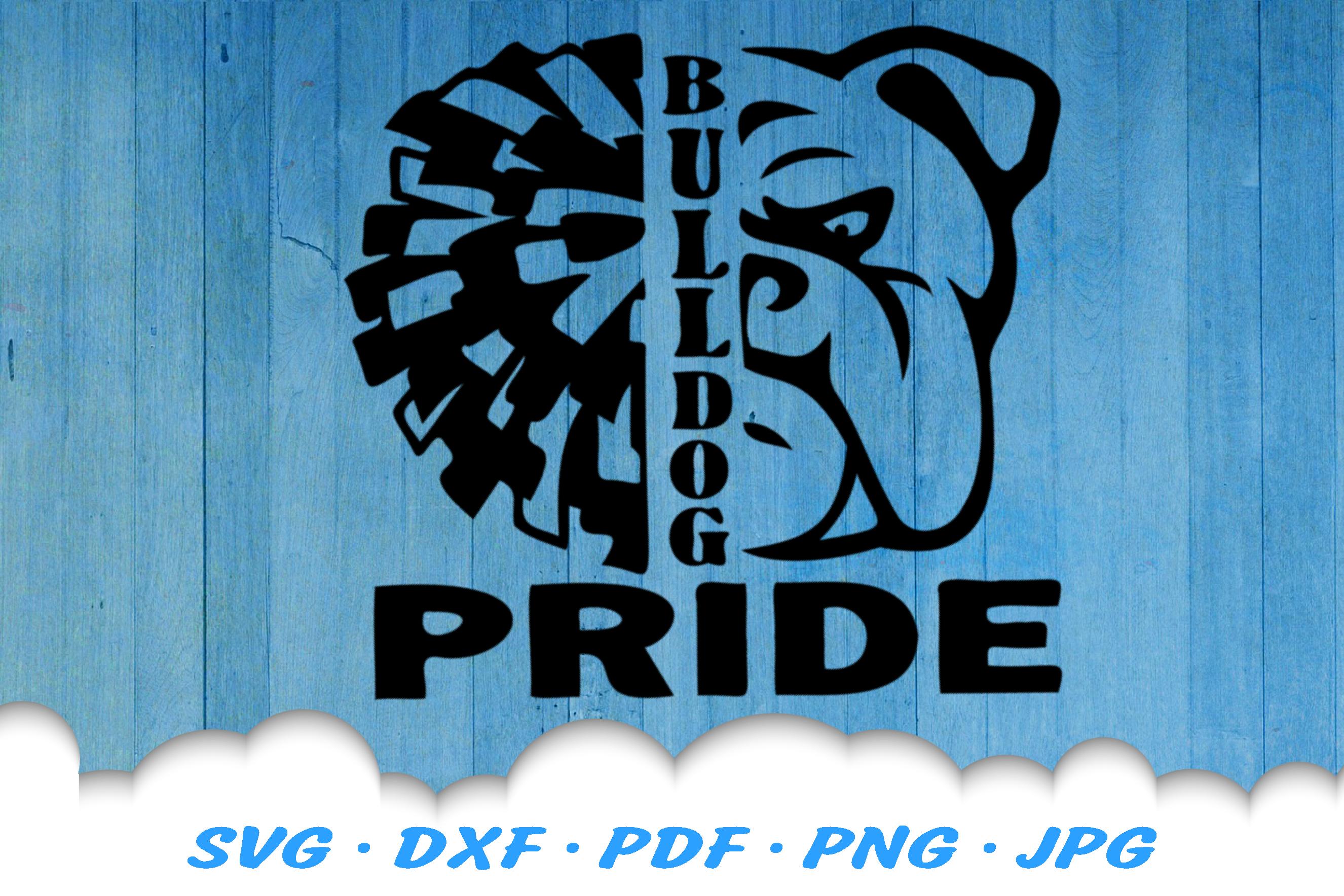 Bulldog Pride Mascot Cheer Pom SVG DXF Cut Files example image 2