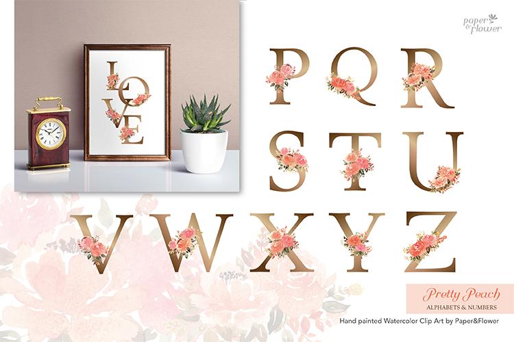 Peach Rose Watercolor Alphabet Set example image 3