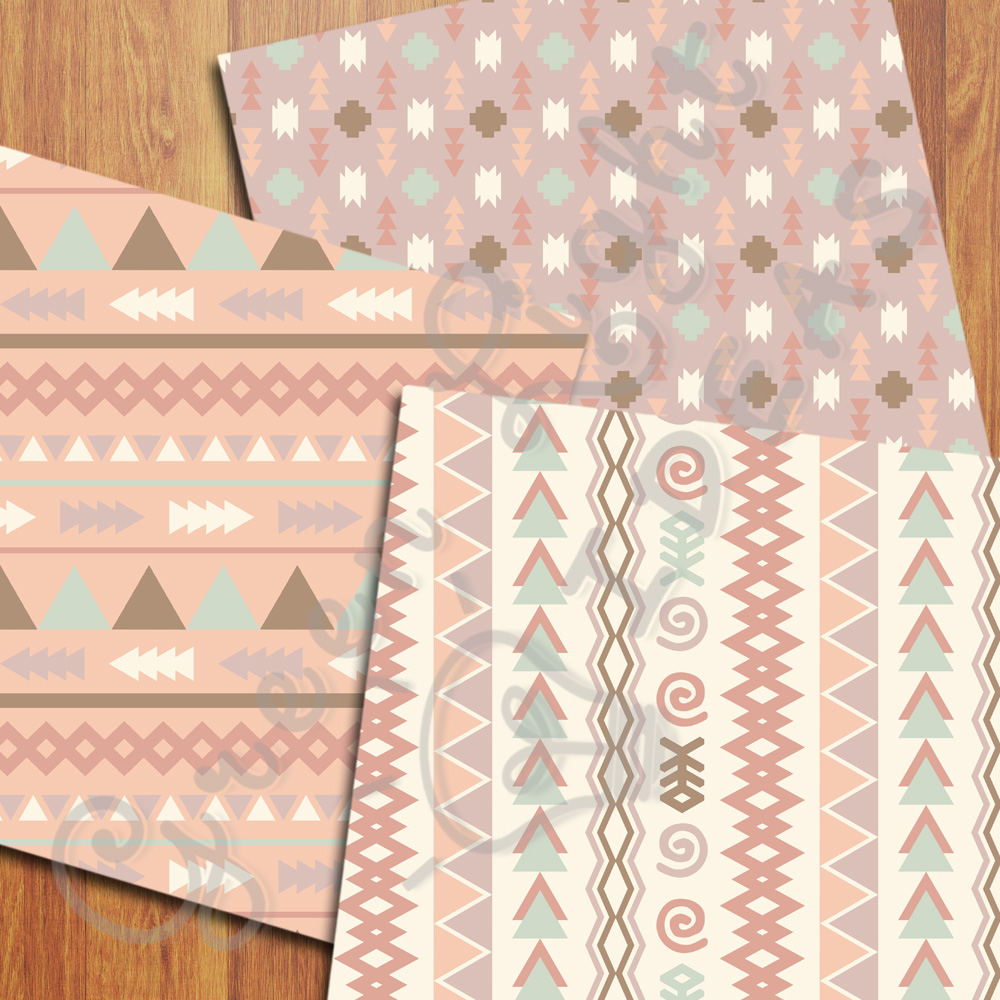 Earth Tribal Digital Papers, Aztec Backgrounds example image 5