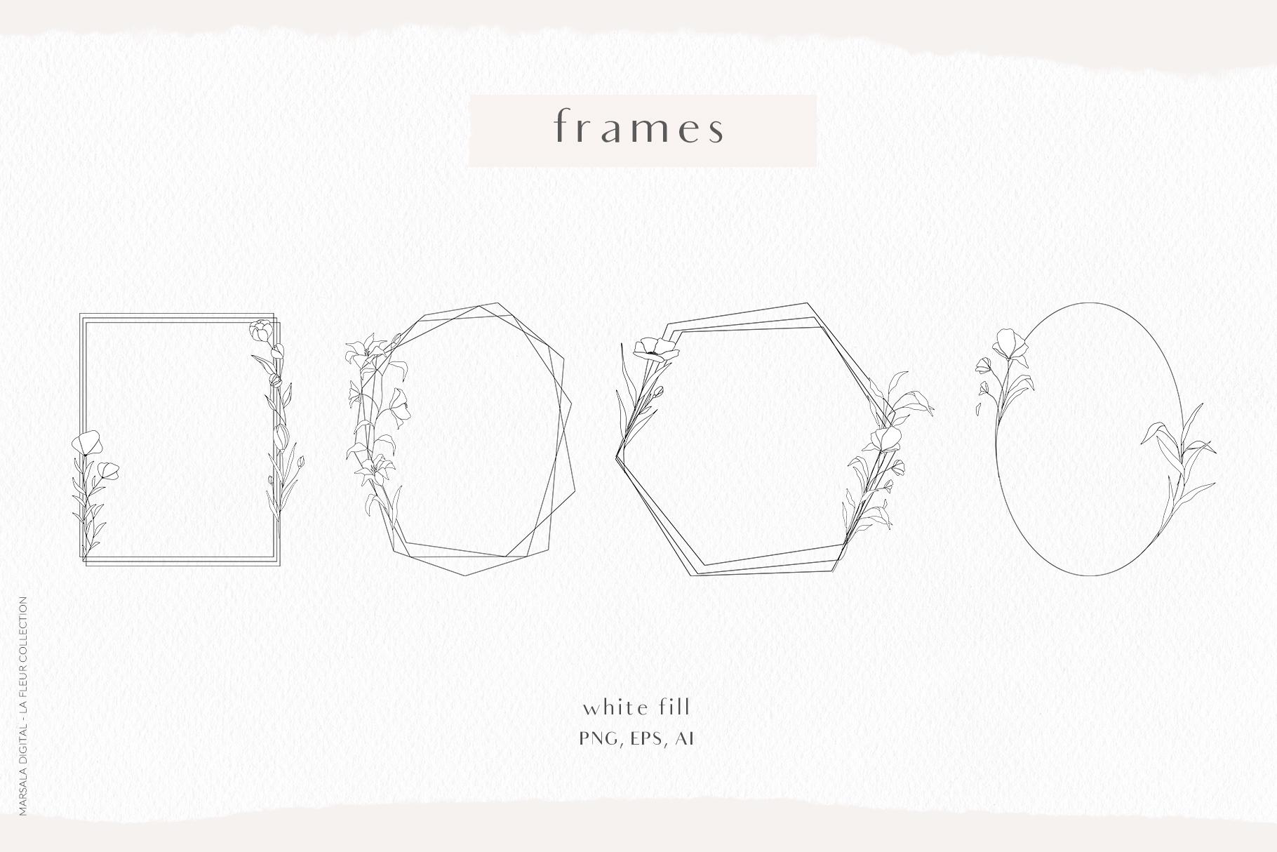 Floral Pencil Sketches Line Art - La fleur example image 4