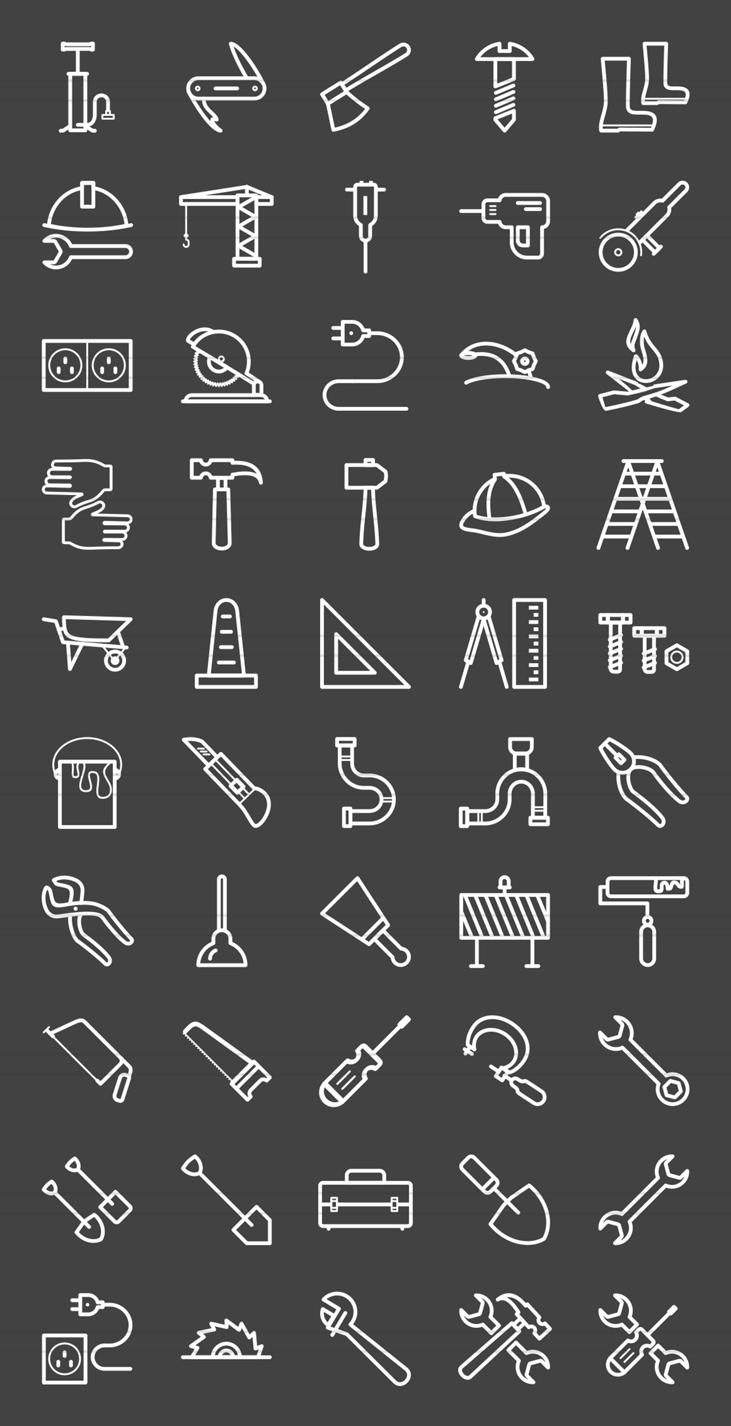 50 Tools Line Inverted Icons example image 2