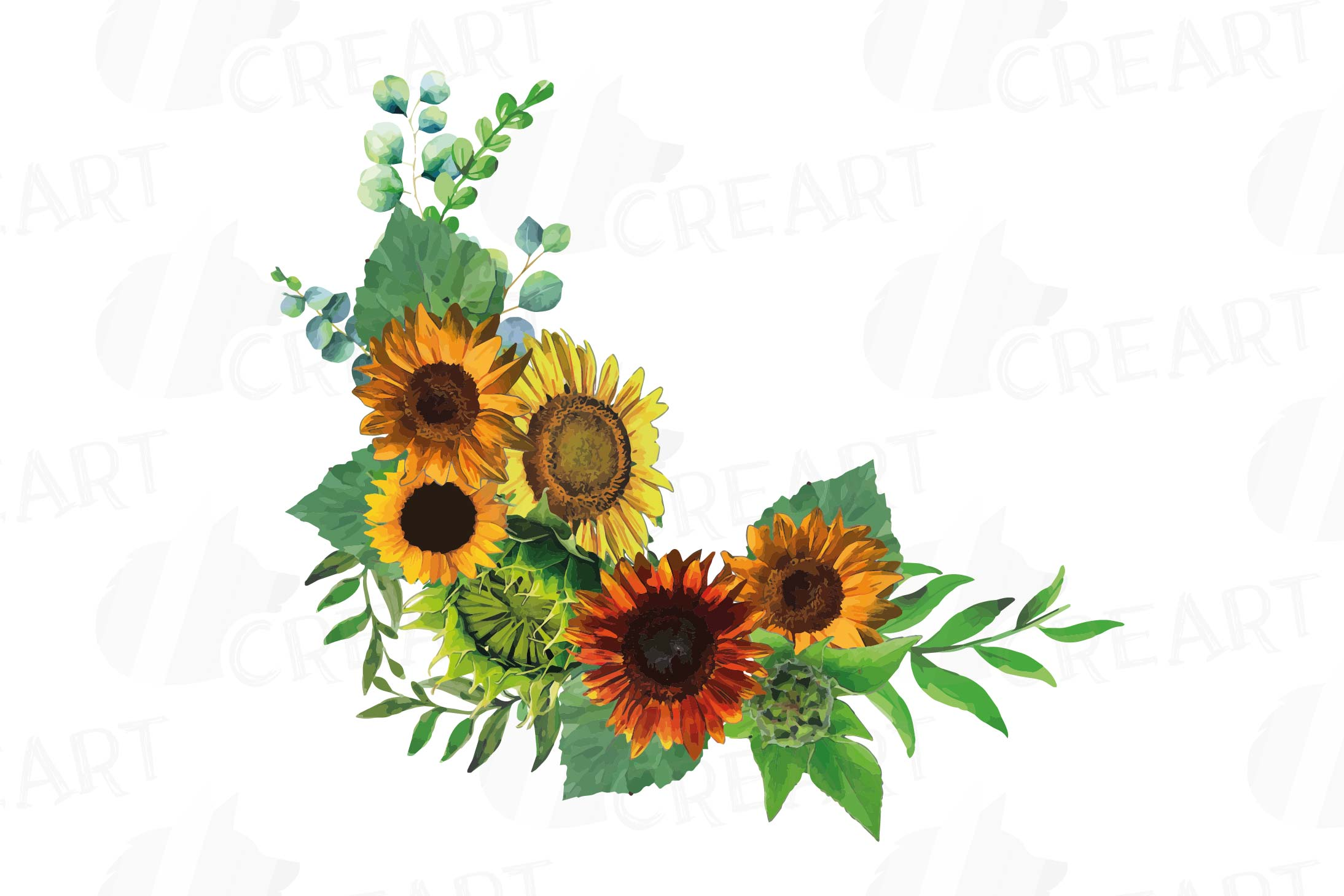 Watercolor sunflower bouquets and design elements example image 7