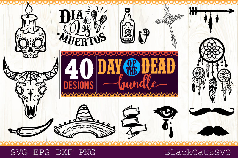 Day of the Dead SVG bundle 40 designs example image 3