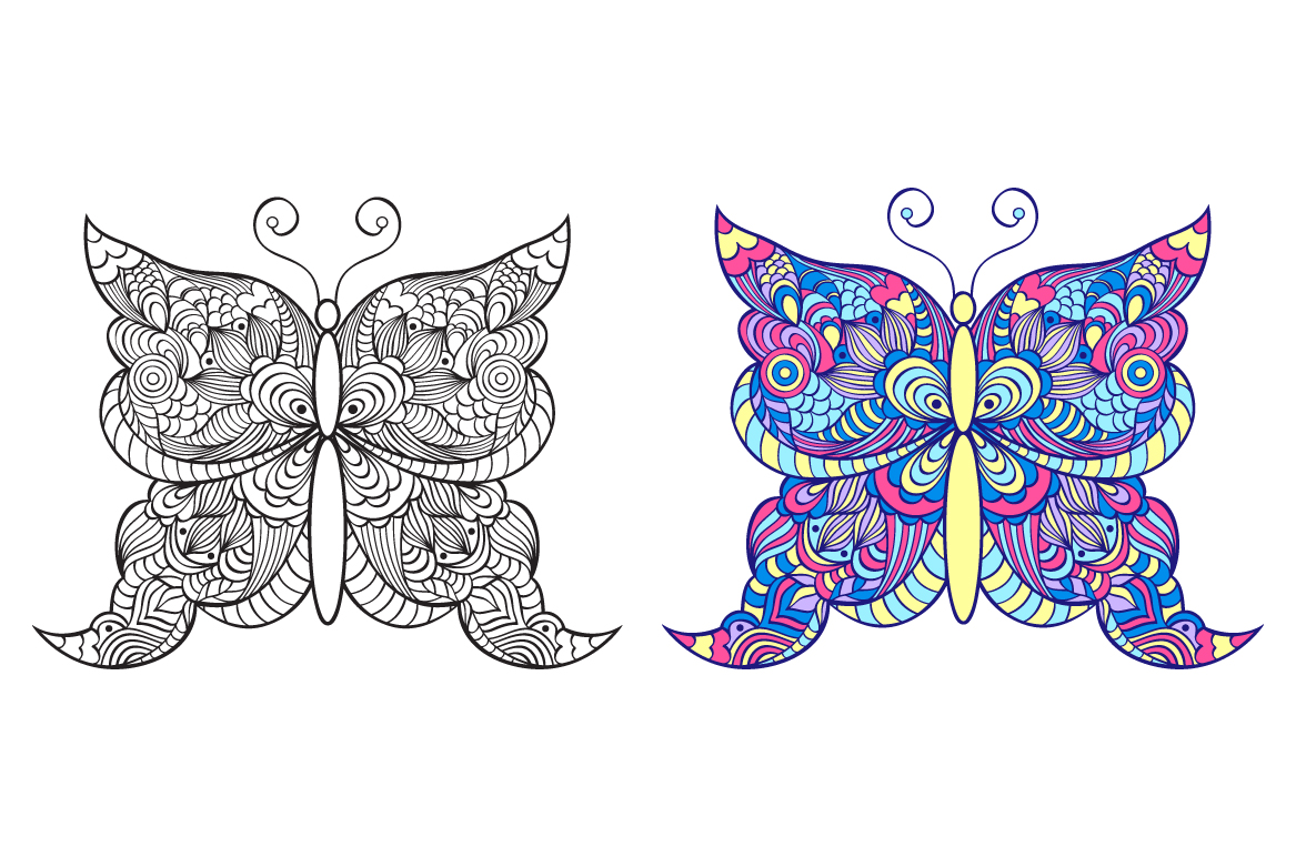 Floral butterflies. Coloring pages. example image 6