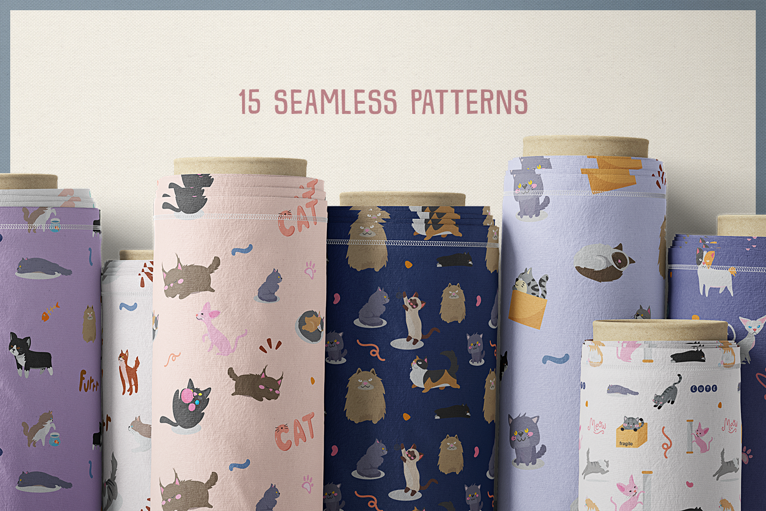 80 Cute Cat Vector Clipart & Seamless Patterns example image 6