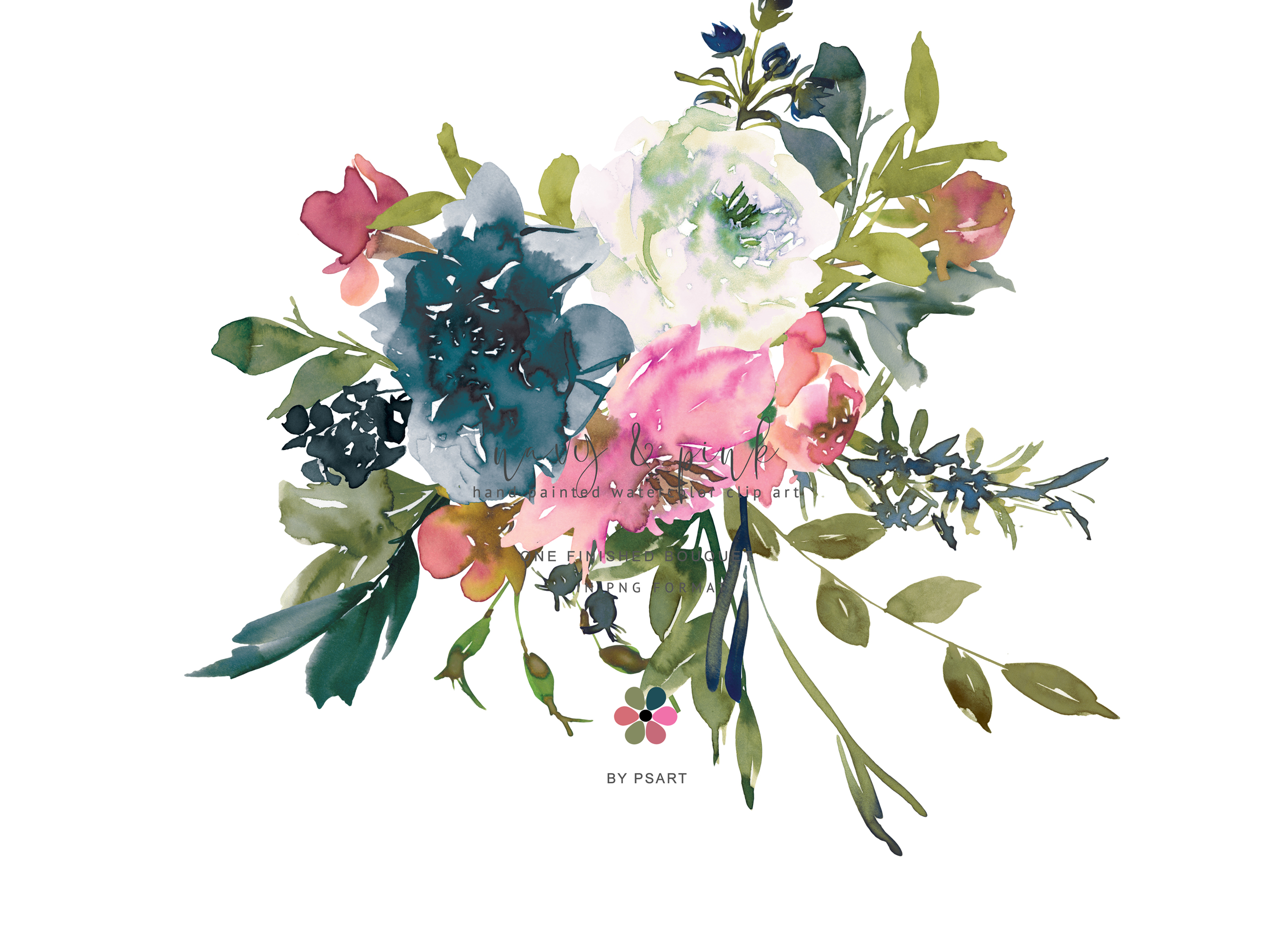 Hand Painted Watercolor Floral Bouquet Clipart