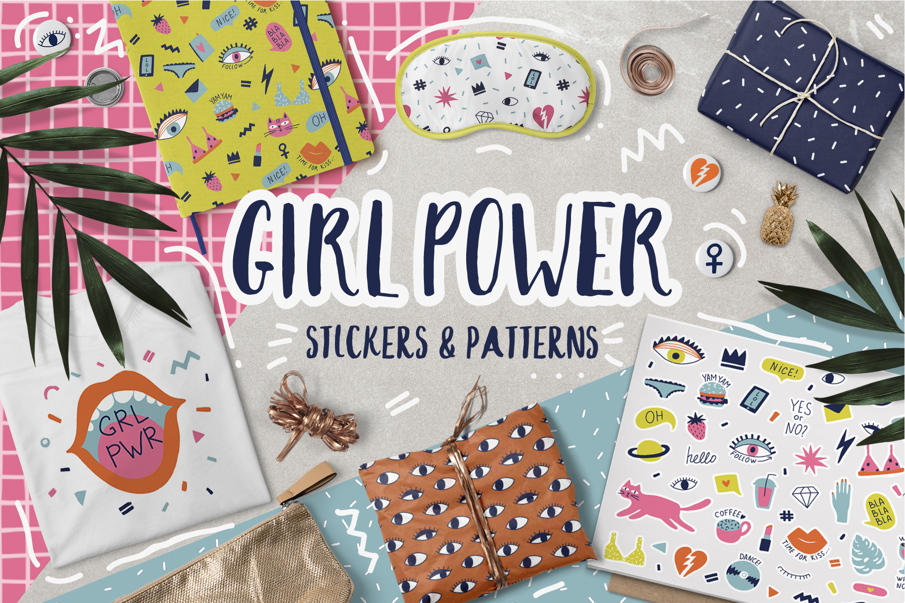 Girl Power stickers & patterns example image 1