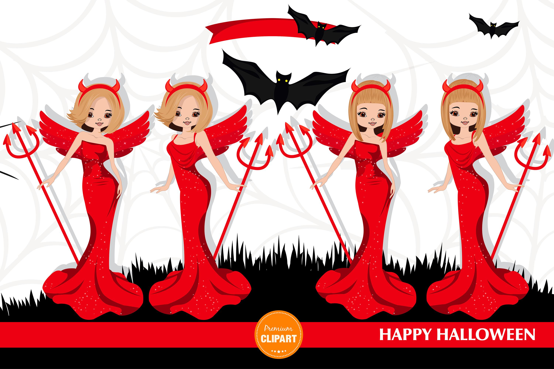 Halloween girl, Halloween illustration, Halloween devil girl example image 3