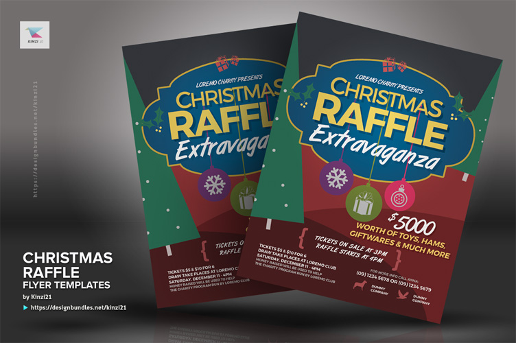 Christmas Raffle Flyer Templates example image 3