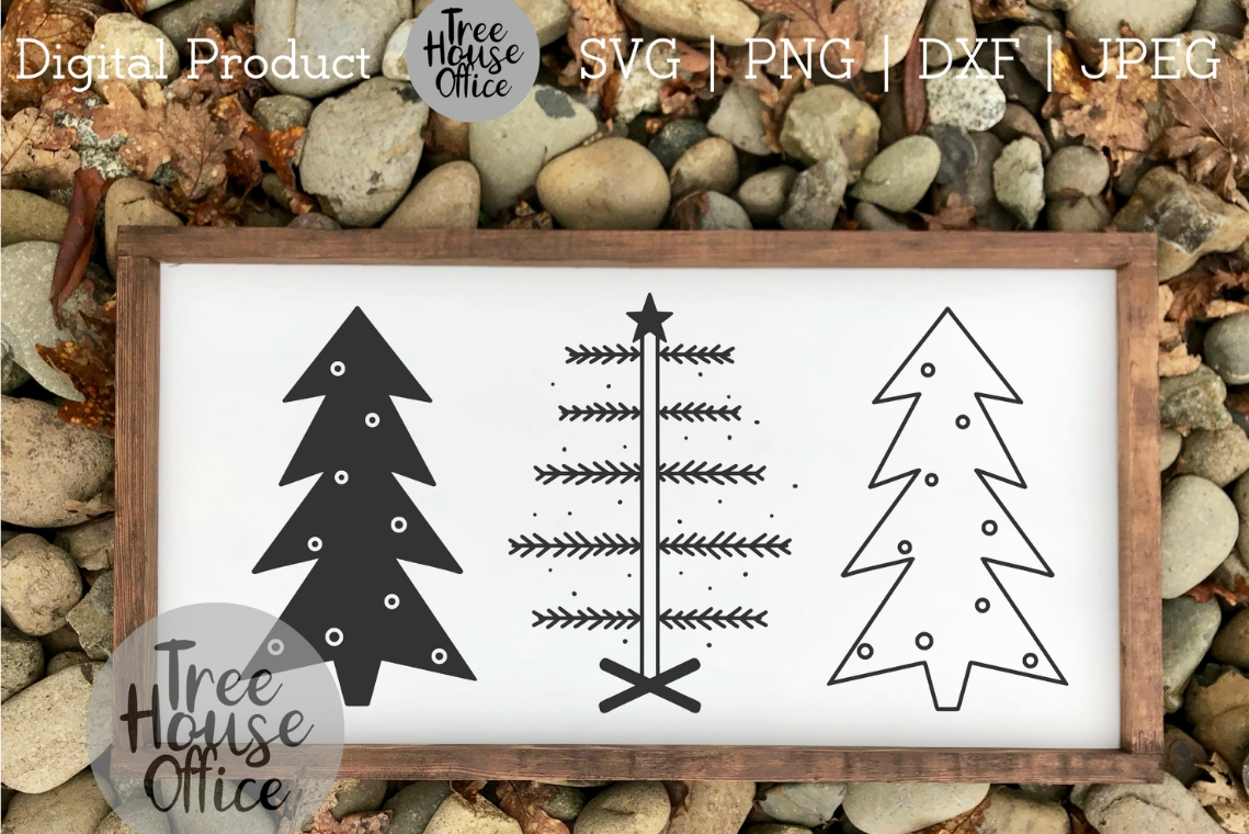 Primitive Christmas Trees, Simple Christmas SVG PNG DXF JPEG example image 3