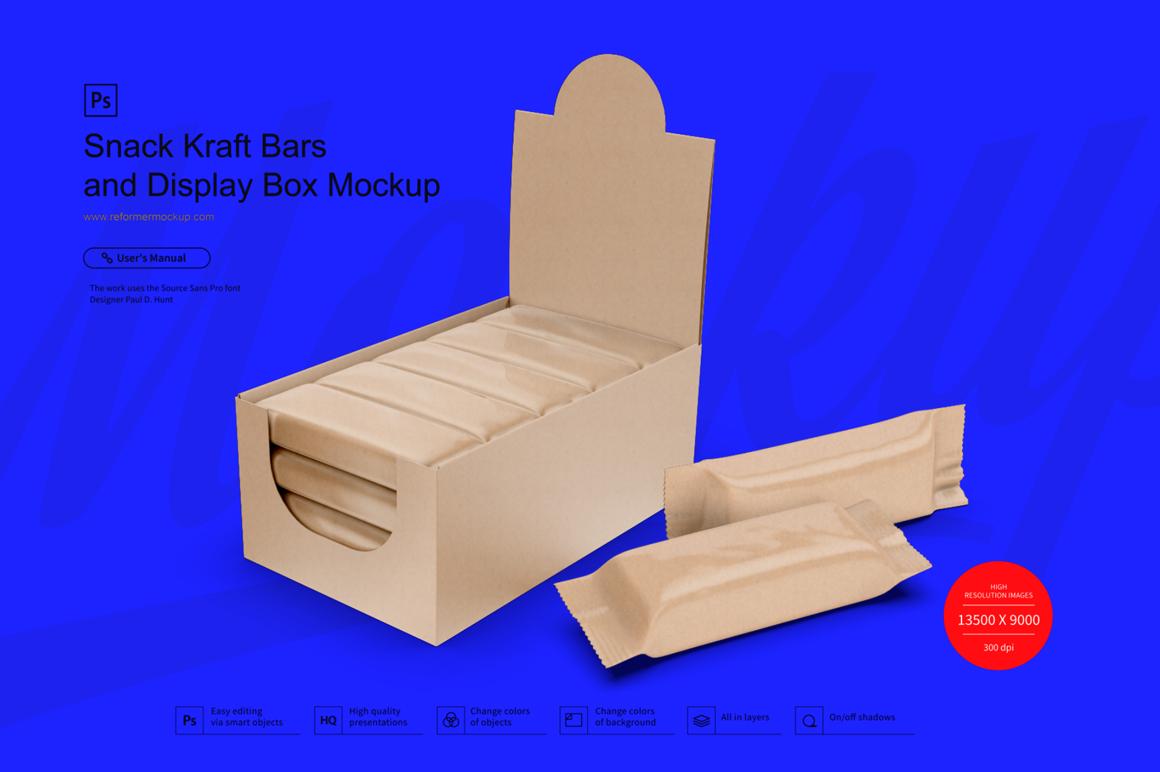 Kraft Snack Bars and Display Box Mockup example image 1
