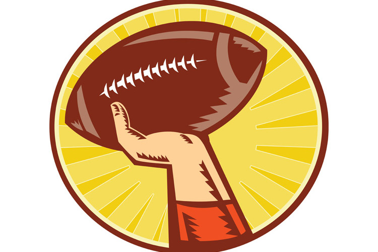 American Football Player Hand Catching Throwing Ball example image 1