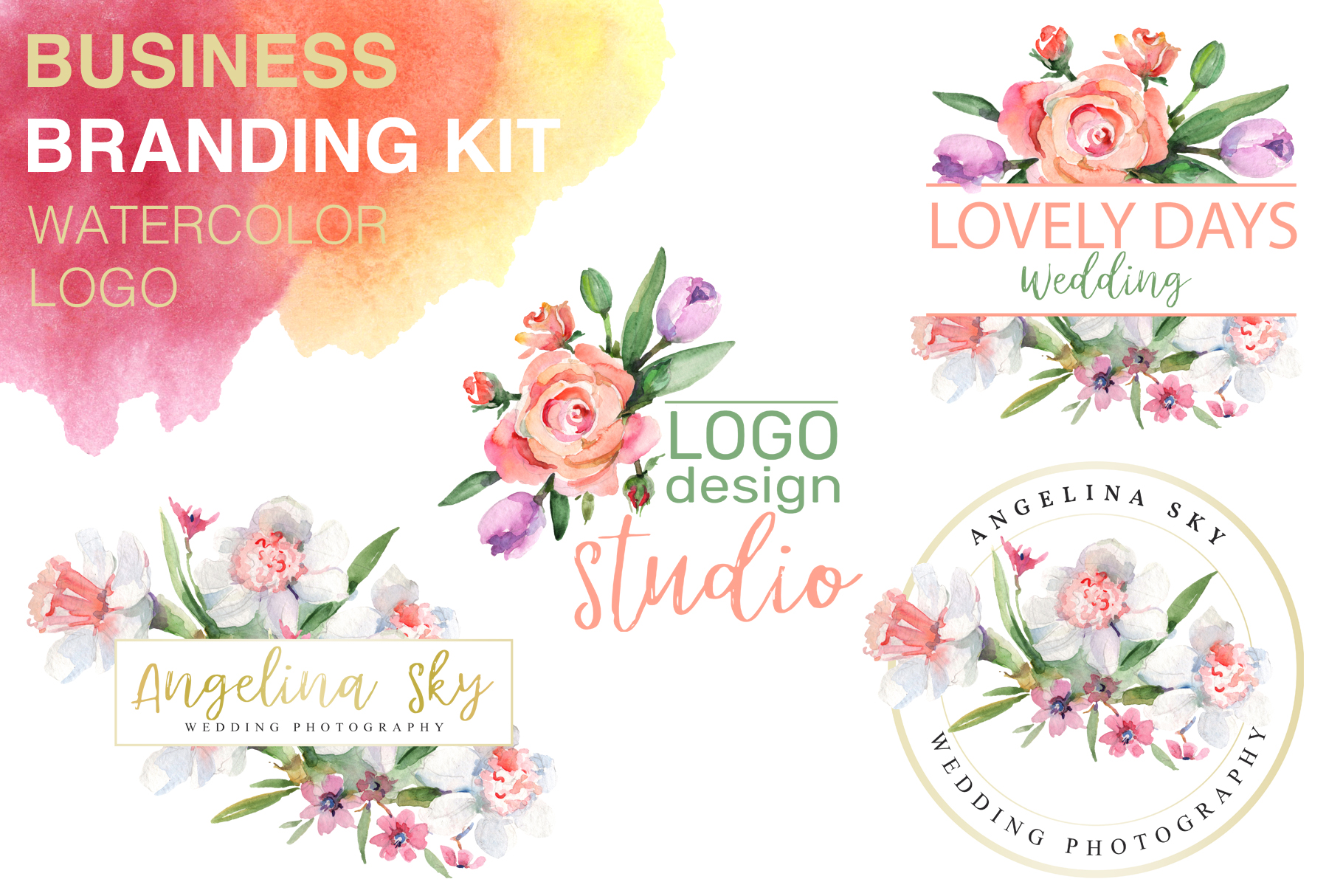 LOGO with roses and narcissus Watercolor png example image 1