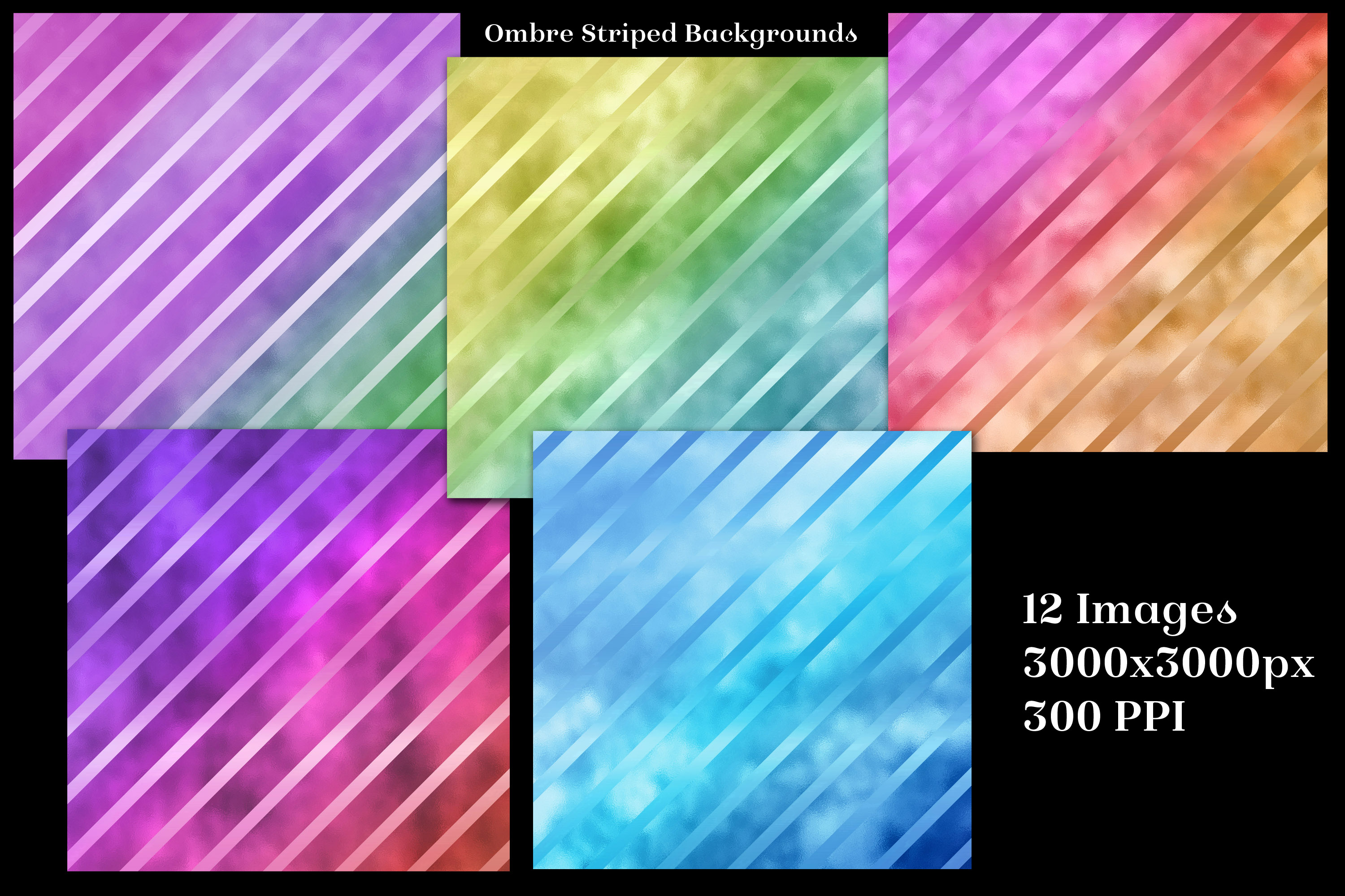 Ombre Striped Glass Backgrounds - 12 Image Textures Set example image 2