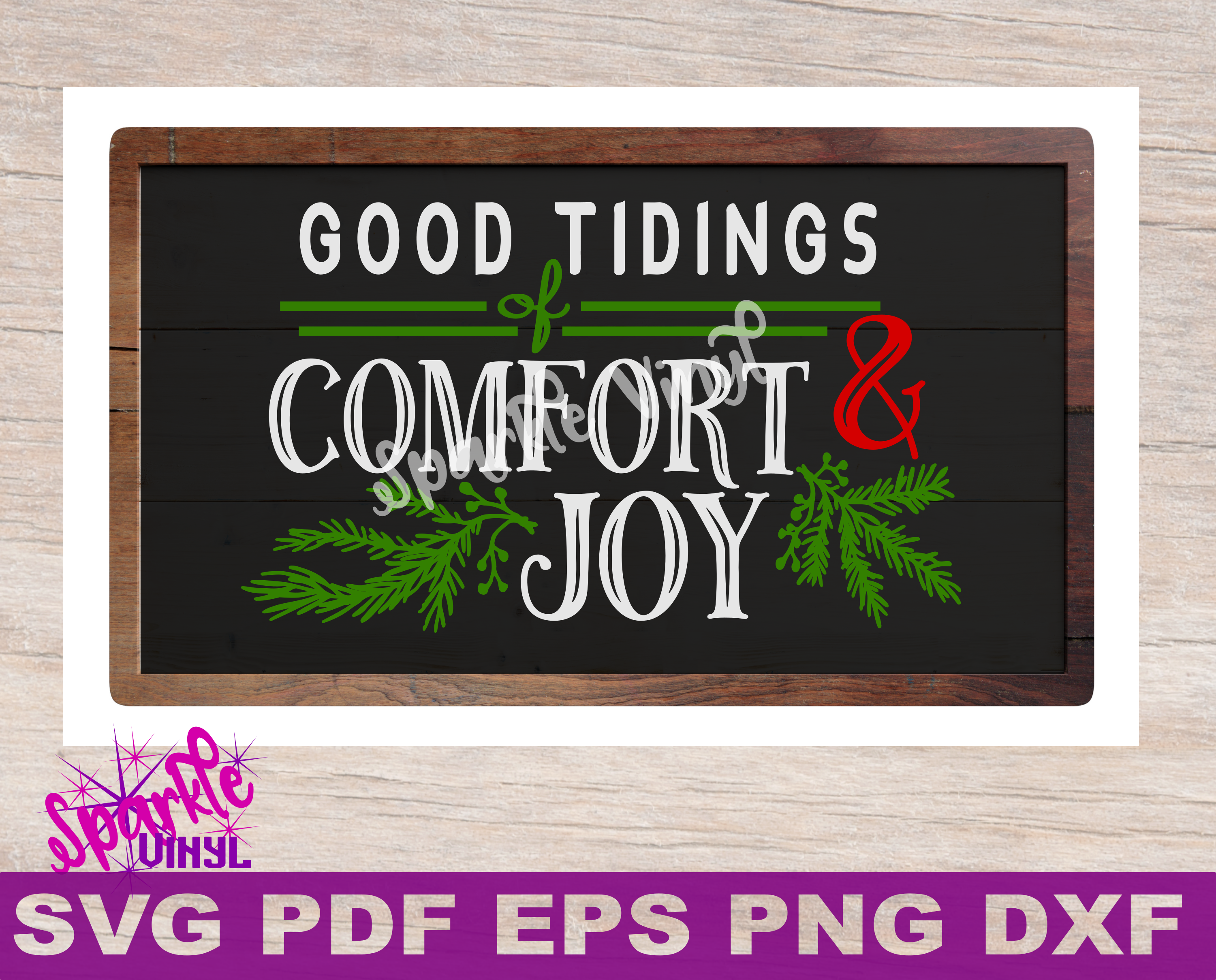 SVG Christmas Comfort and Joy DIY Sign stencil farmhouse example image 1