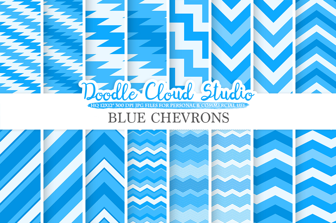 Blue Chevron digital paper, Chevron and Stripes  pattern, Zig Zag lines background, Instant Download for Personal & Commercial Use example image 1