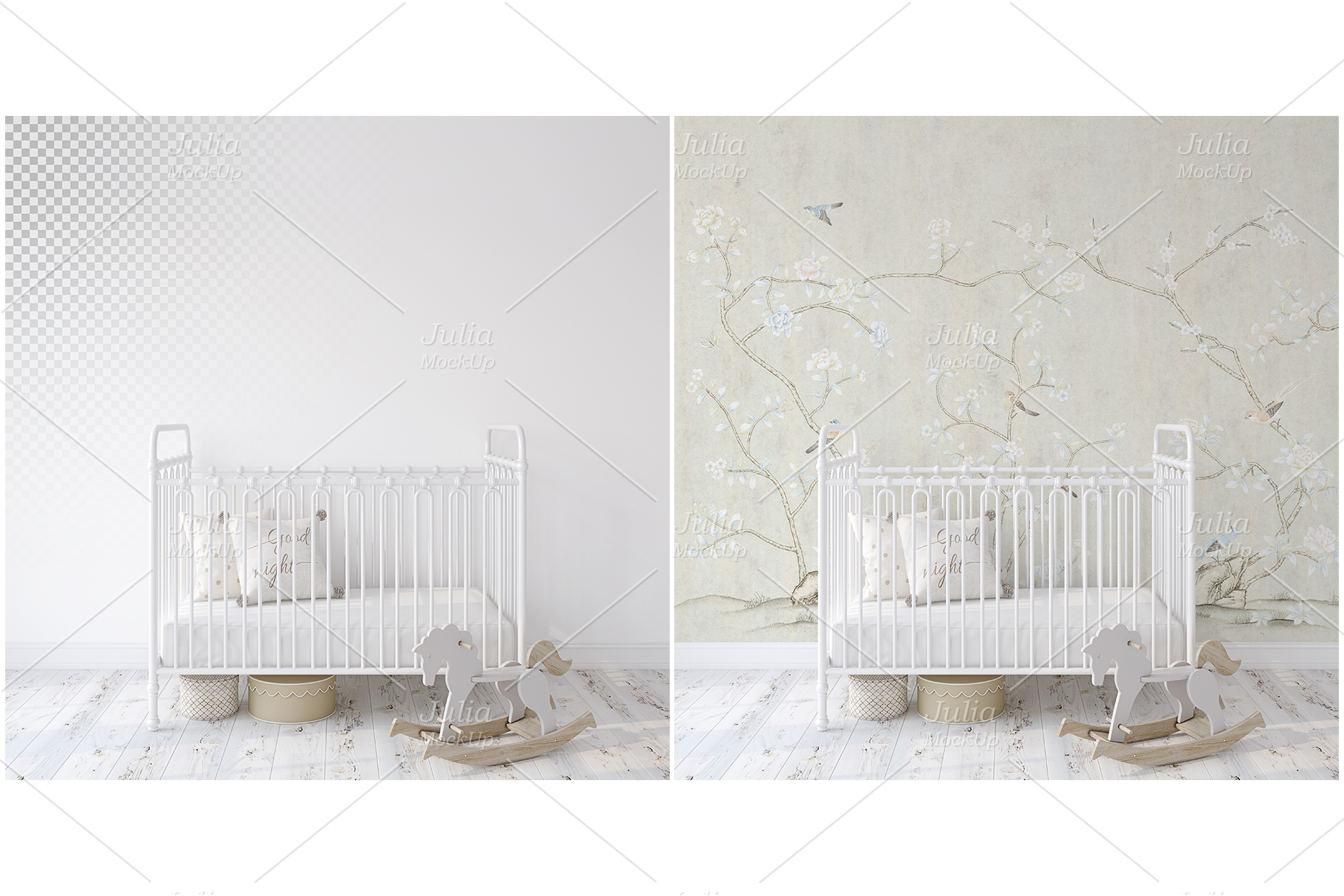 Metal crib. Wall&Frames Mockup. example image 3