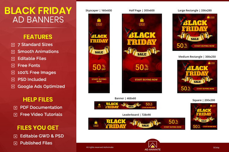 Black Friday Sale Animated Ad Banner Template example image 1