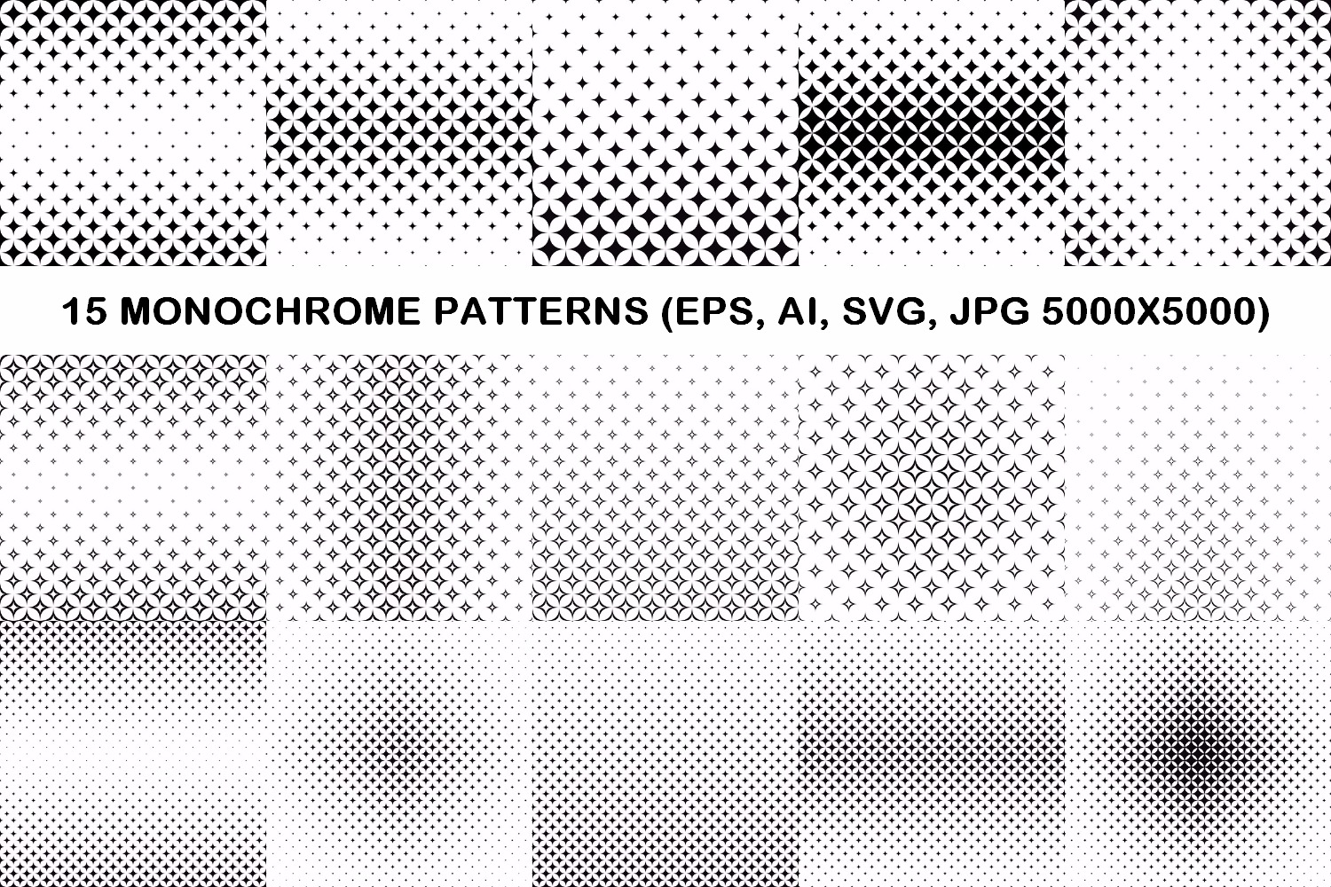 15 curved star patterns (EPS, AI, SVG, JPG 5000x5000) example image 1