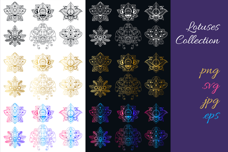 Geometric Lotuses Set example image 4