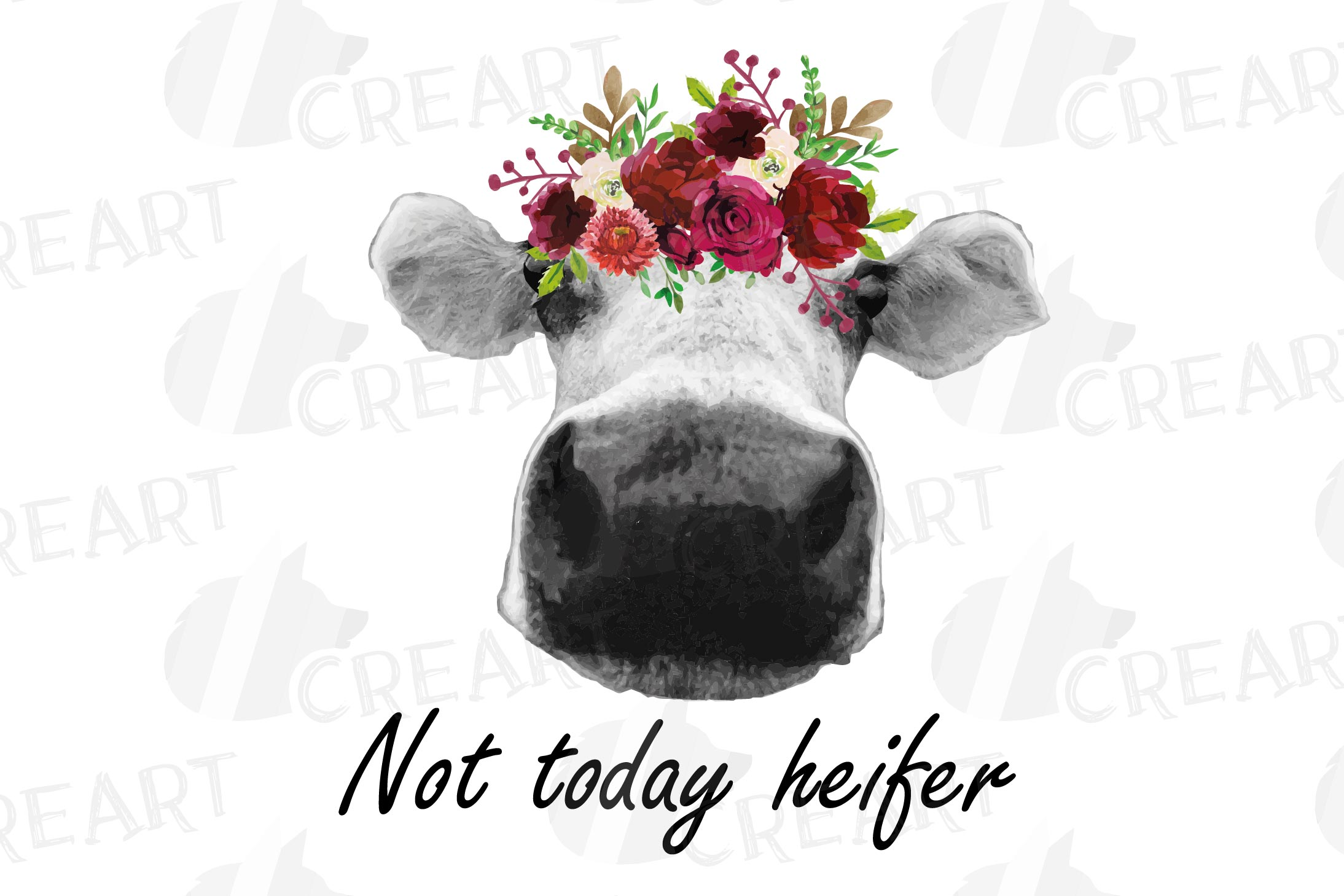 Not today Heifer printable floral burgundy decor, floral cow example image 19